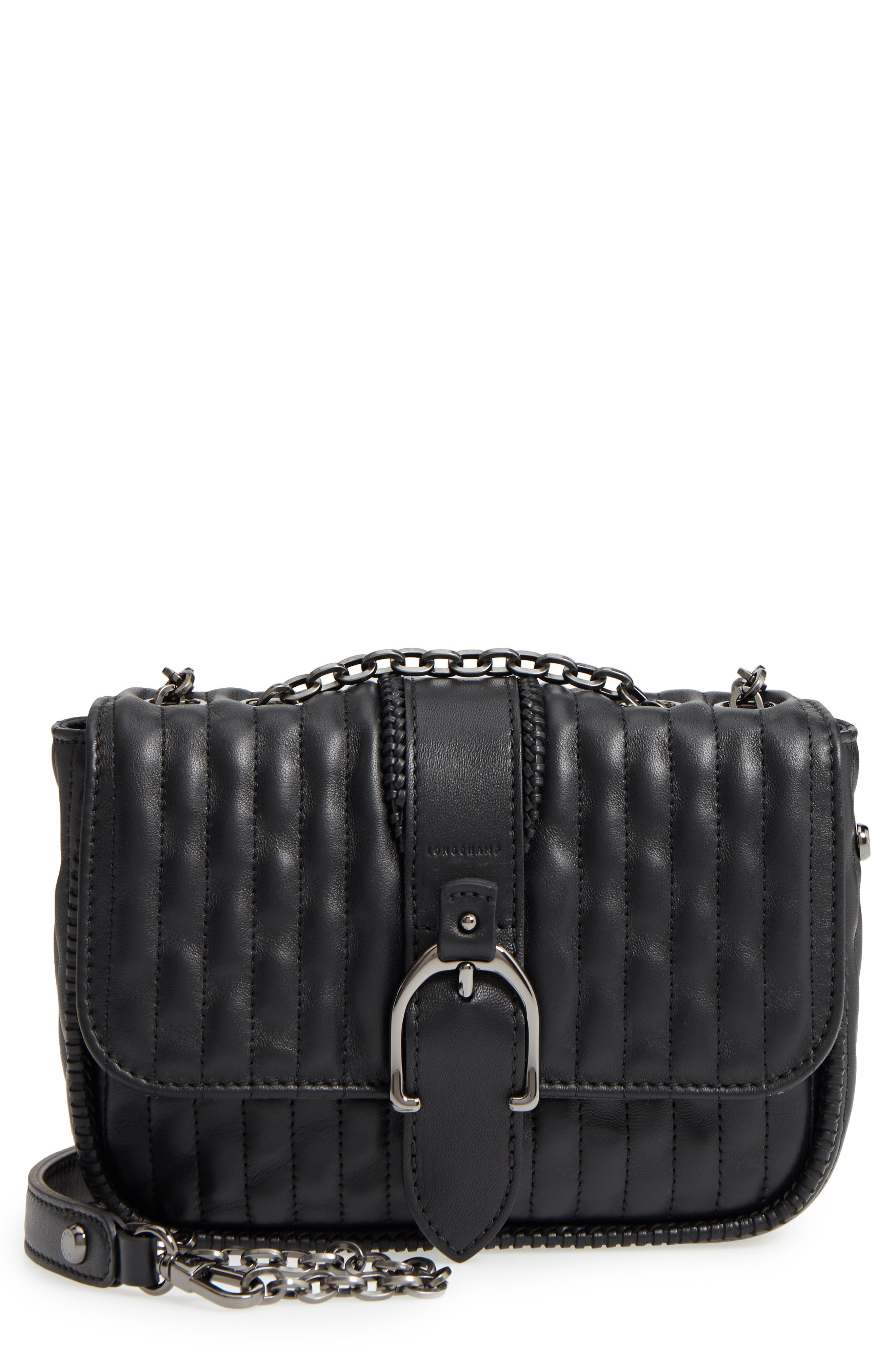 LONGCHAMP Amazone Quilted Leather Crossbody Bag - Black