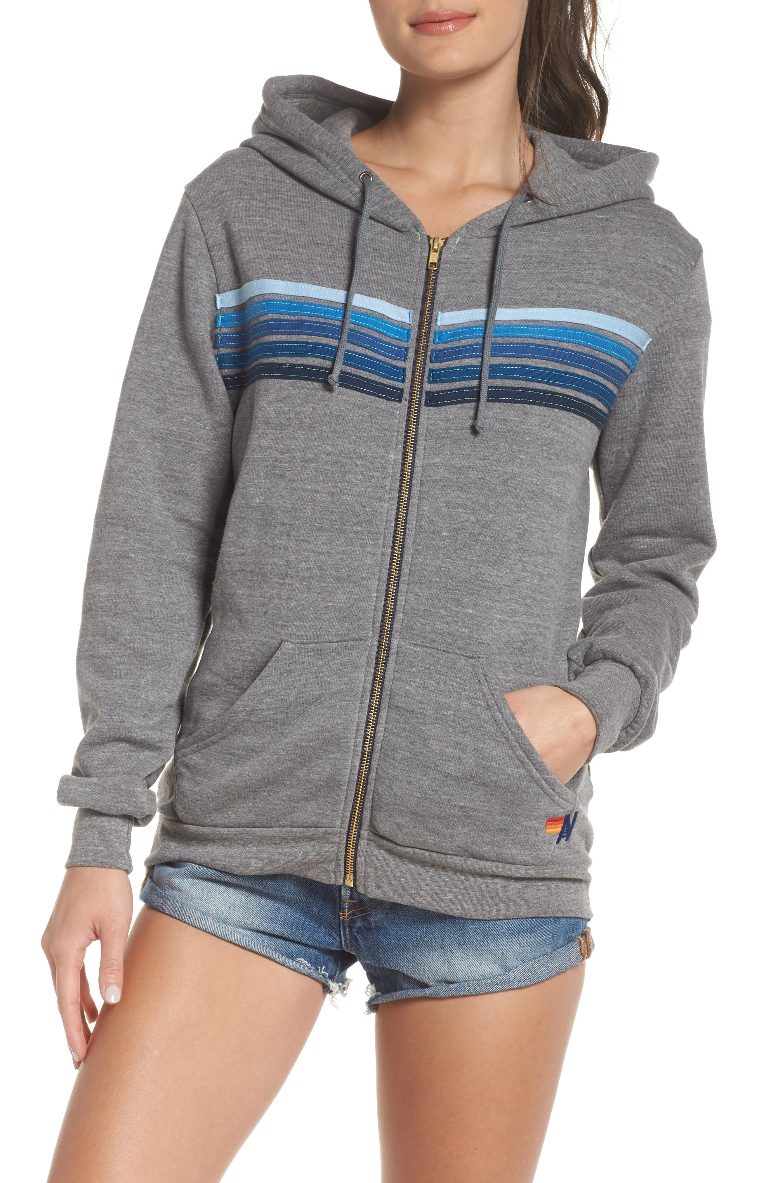 5-Stripe Zip Hoodie,                             Alternate thumbnail 4, color,                             Heather Grey/ Blue Stripes