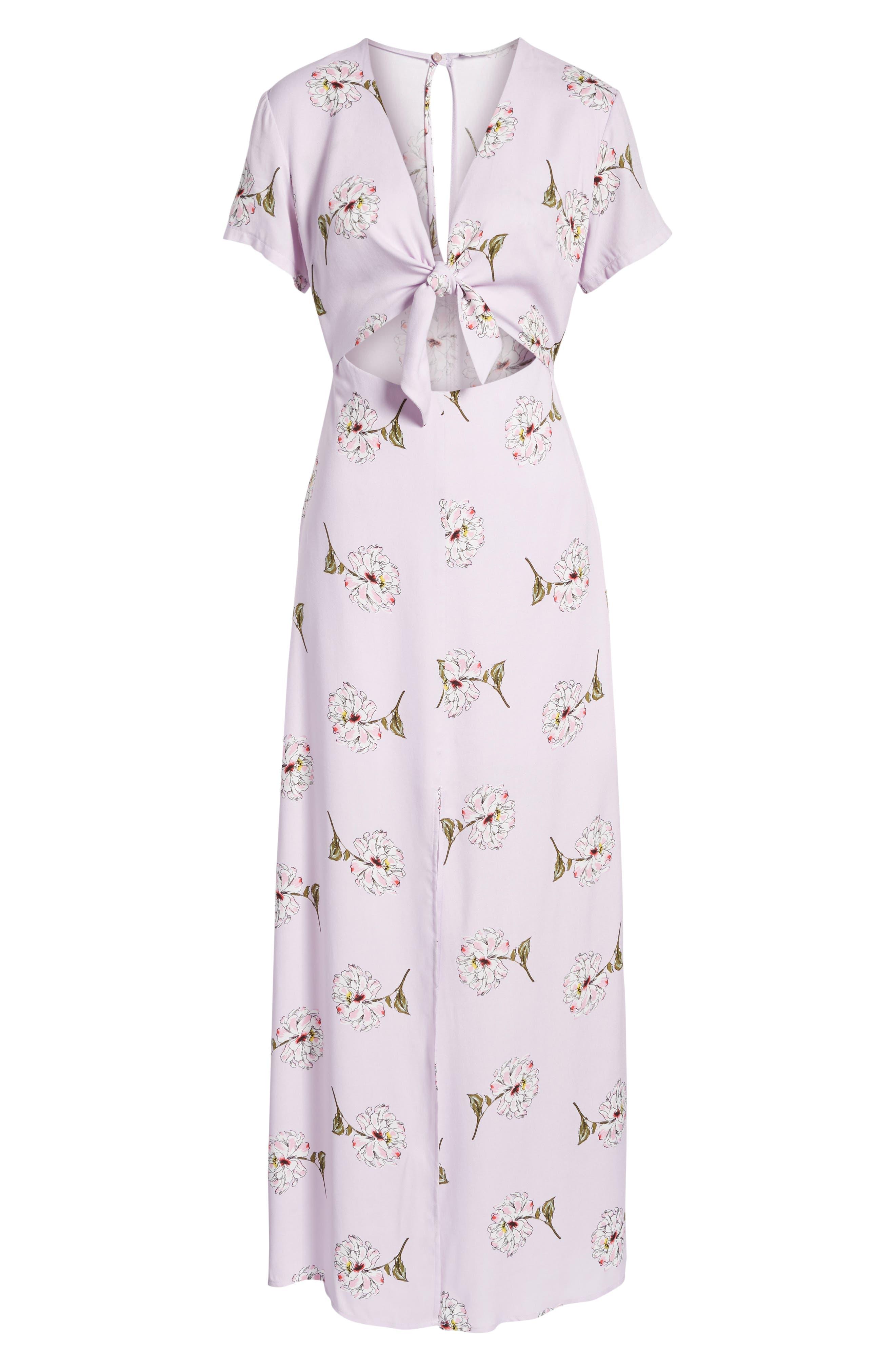 Cutout Tie Front Maxi Dress,                             Alternate thumbnail 7, color,                             Lavender Floral