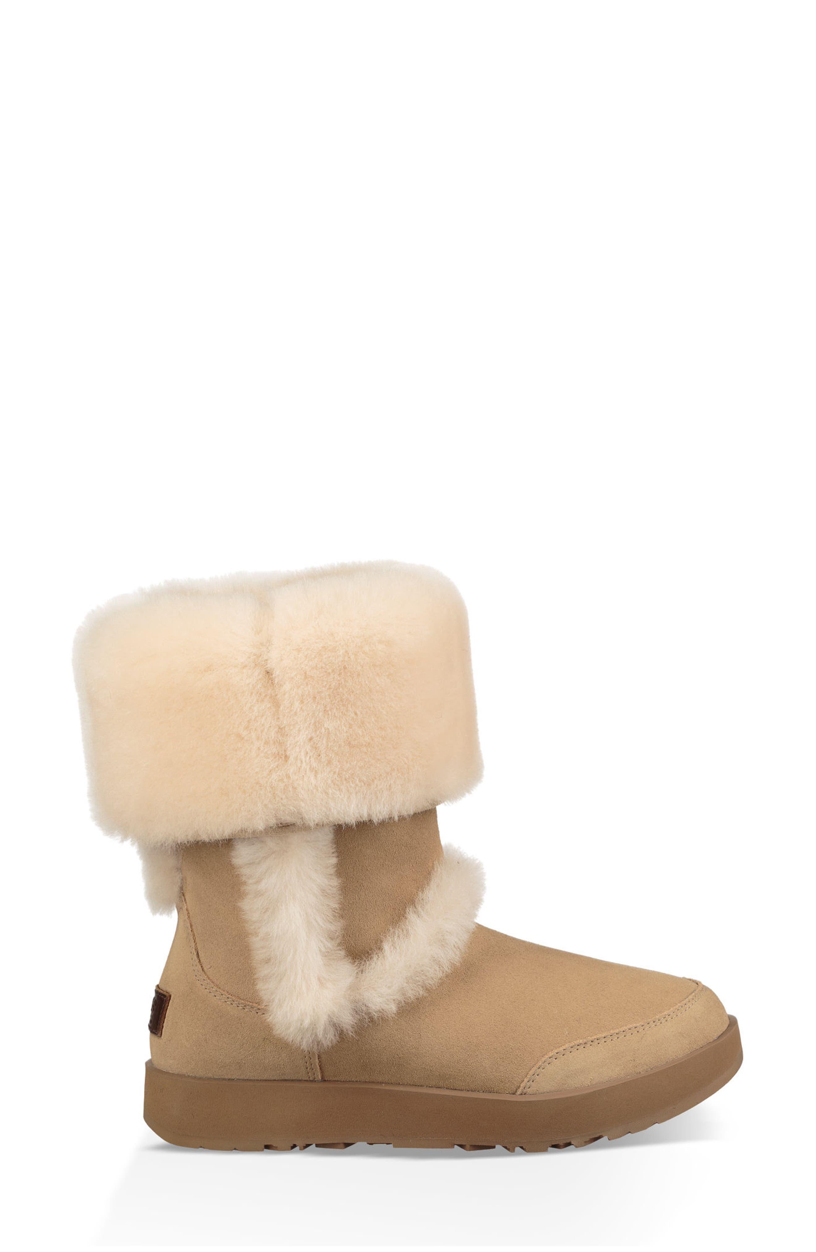 Sundance Genuine Shearling Waterproof Boot,                             Alternate thumbnail 5, color,                             Sand Suede