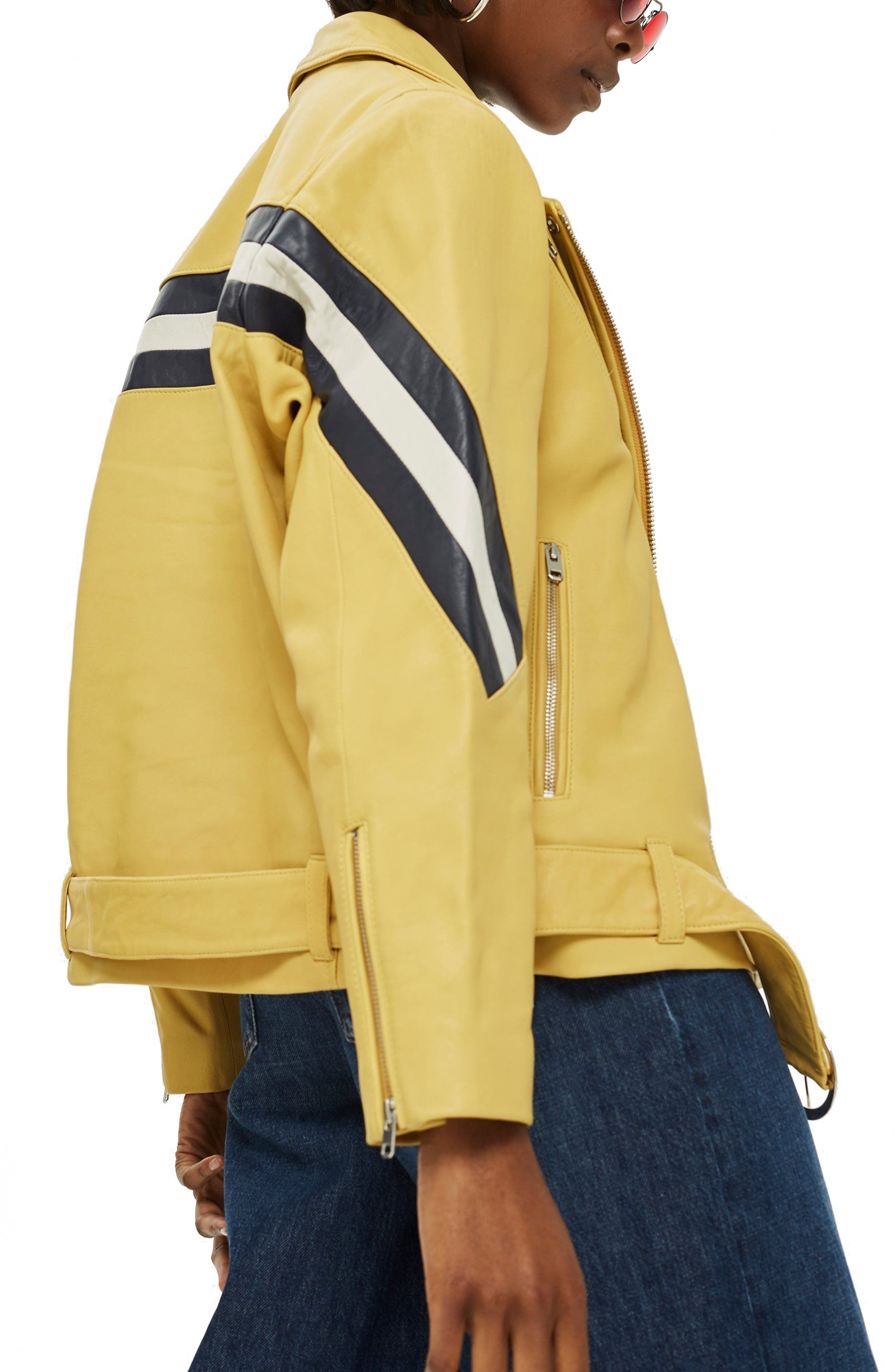 Strobe Leather Jacket,                             Alternate thumbnail 3, color,                             Yellow Multi