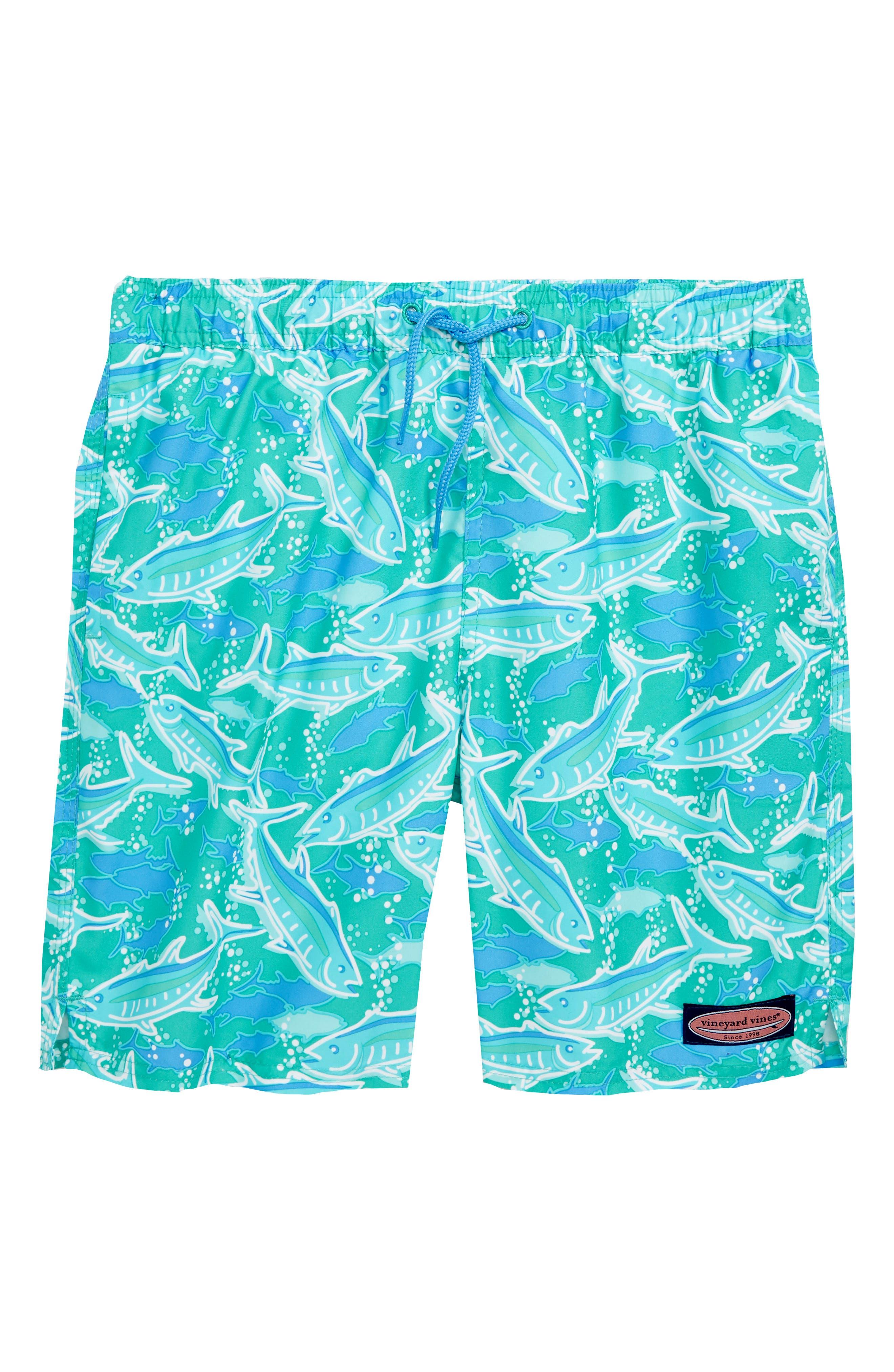 Chappy School of Tuna Swim Trunks,                             Main thumbnail 1, color,                             Aquinnah Aqua