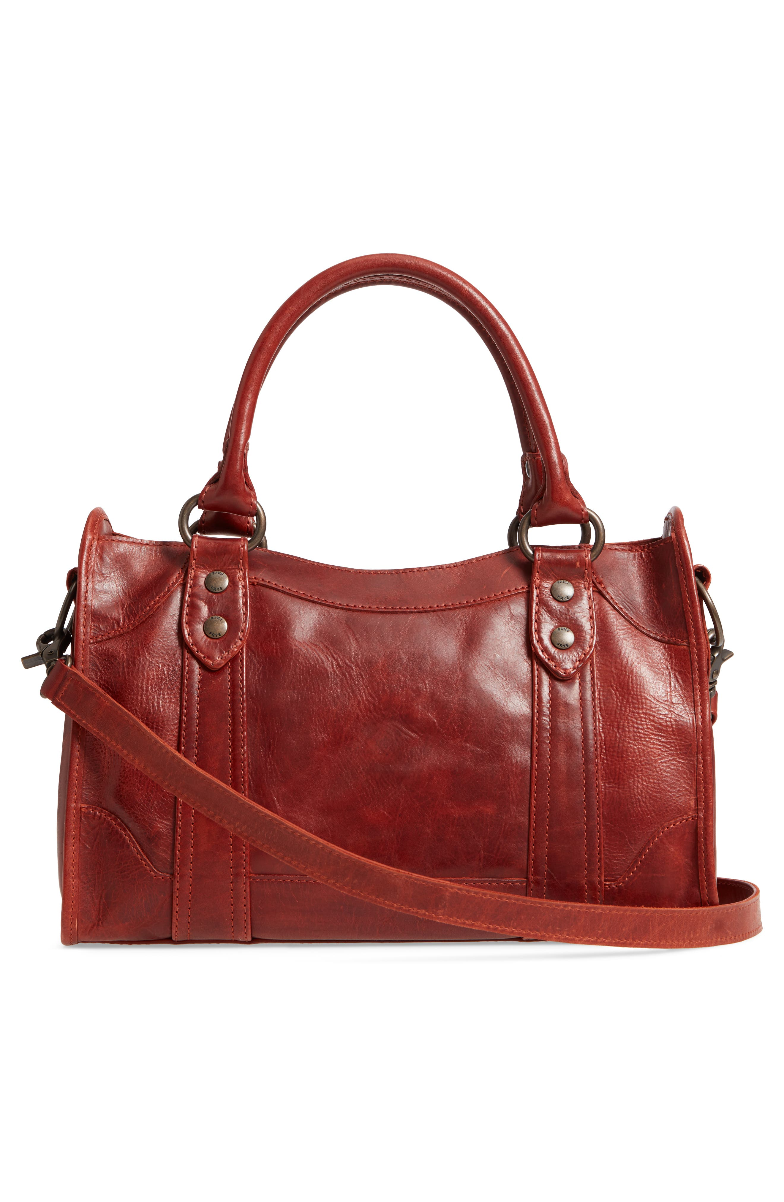 'Melissa' Washed Leather Satchel,                             Alternate thumbnail 3, color,                             Red Clay