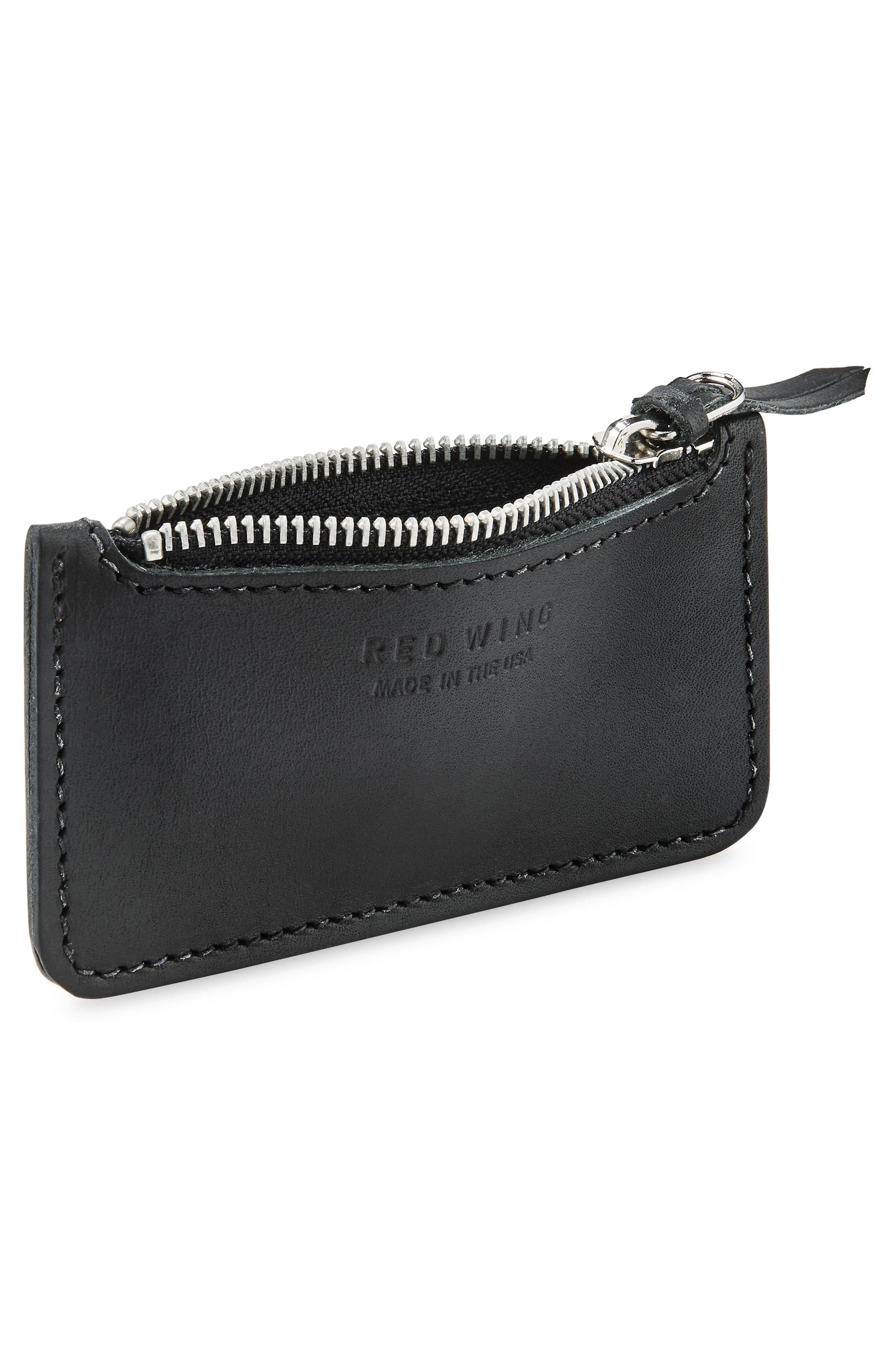 Once Leather Zipper Pouch,                             Alternate thumbnail 2, color,                             Black