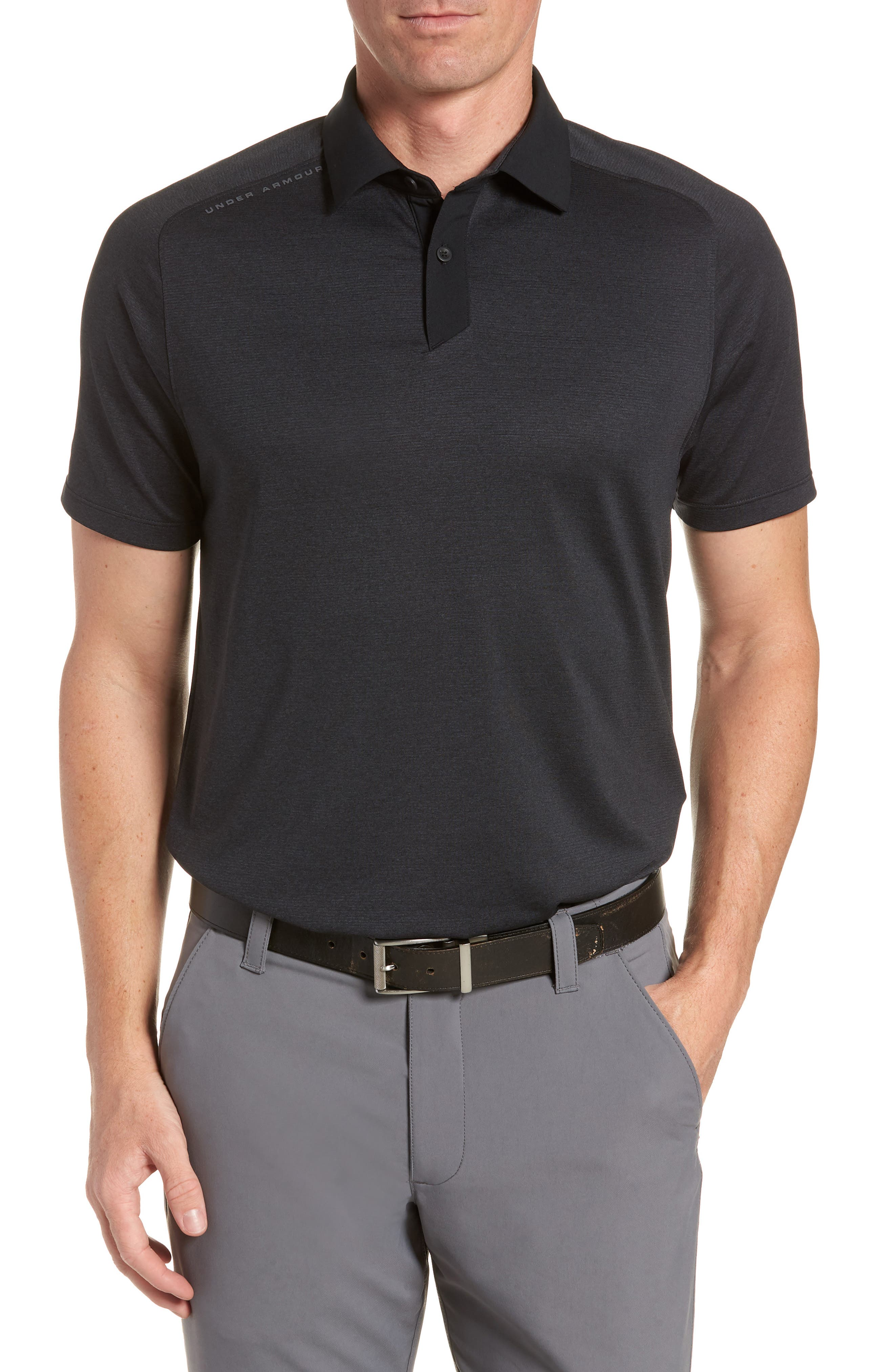 Regular Fit Threadborne Polo,                         Main,                         color, 001 Blk Fll Heathr Blk Wht