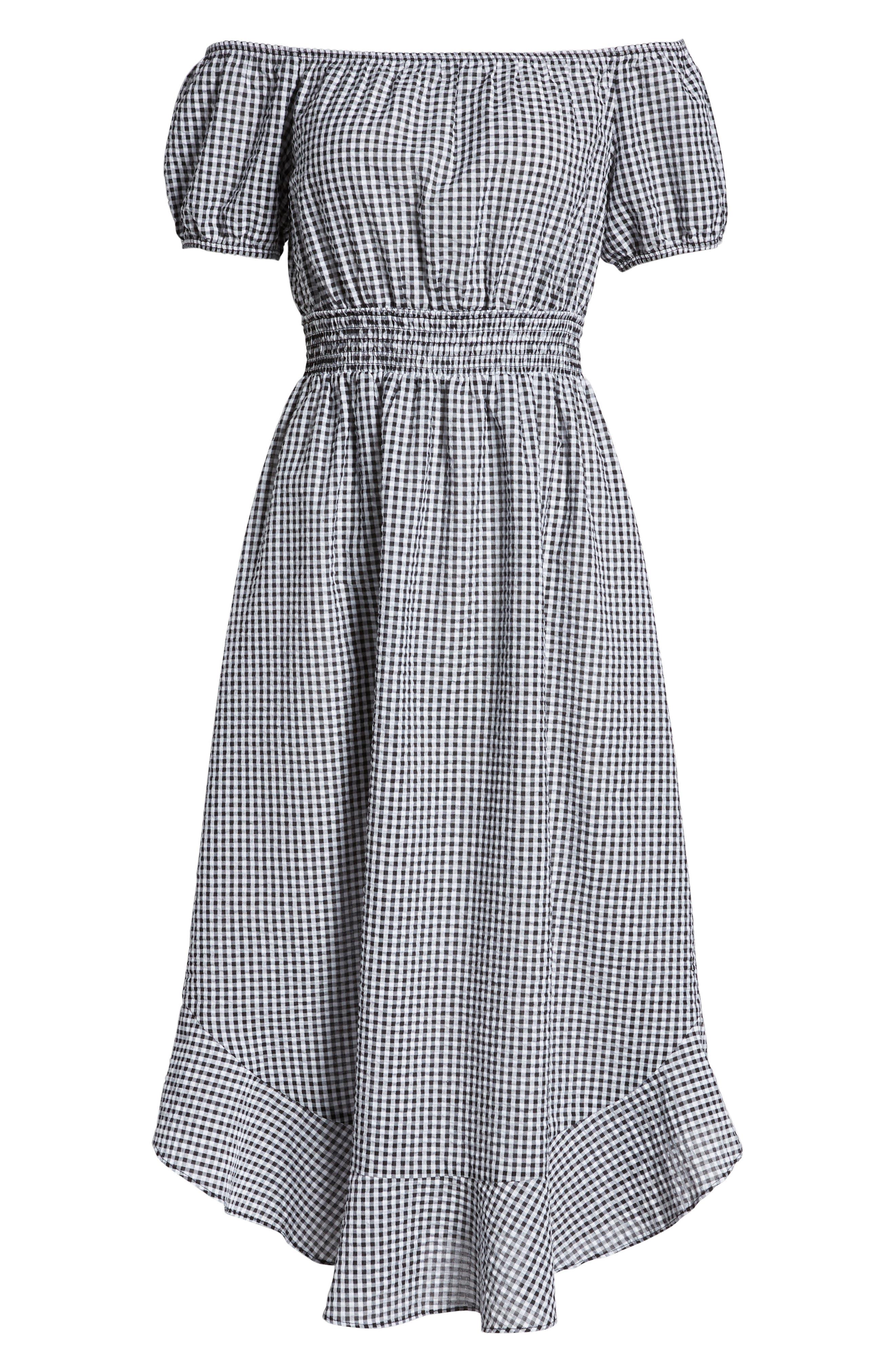 Gingham Off the Shoulder Dress,                             Alternate thumbnail 7, color,                             Black White Gingham