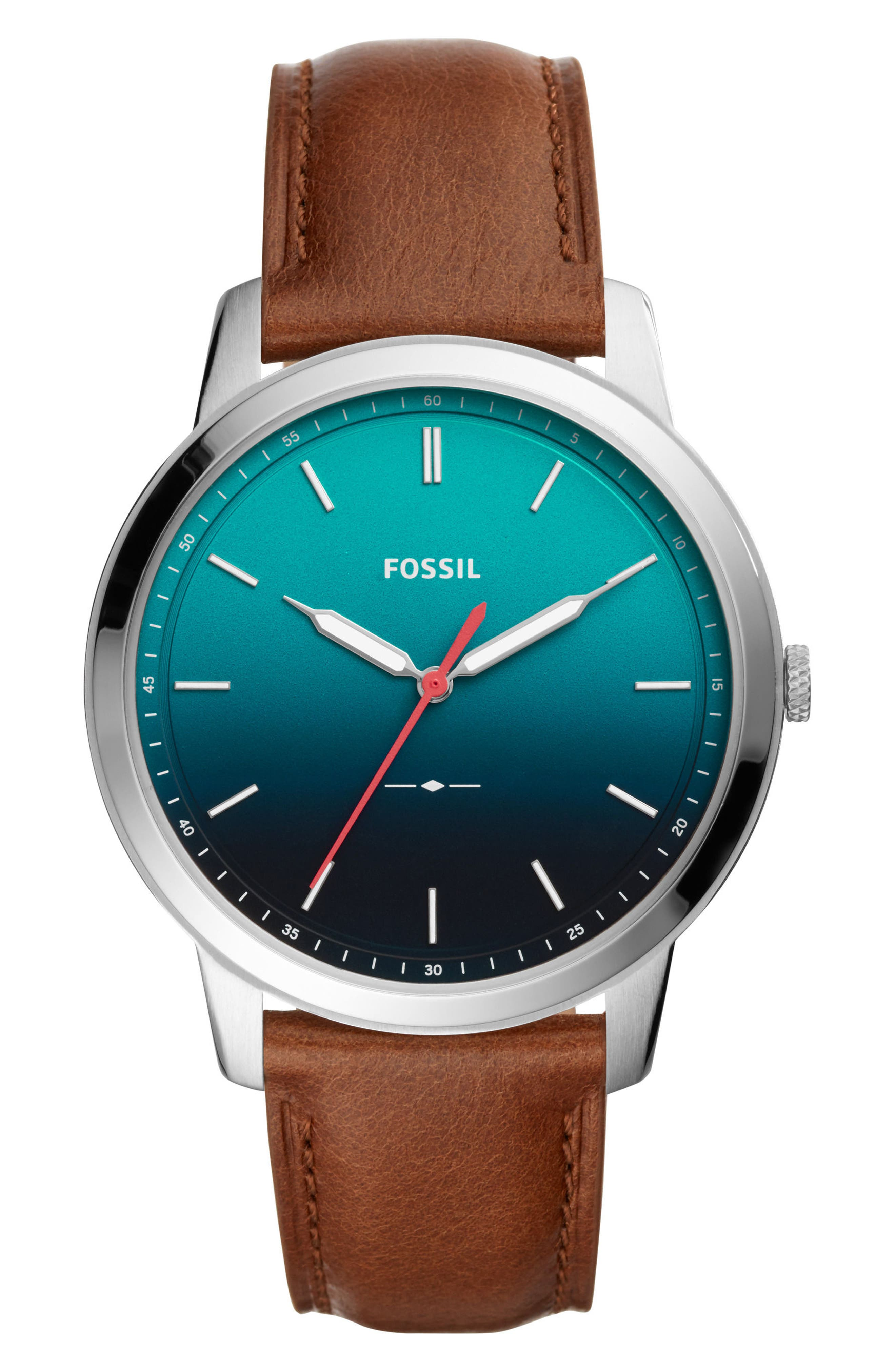 Minimalist Leather Strap Watch, 44mm,                         Main,                         color, Brown/ Blue/ Silver