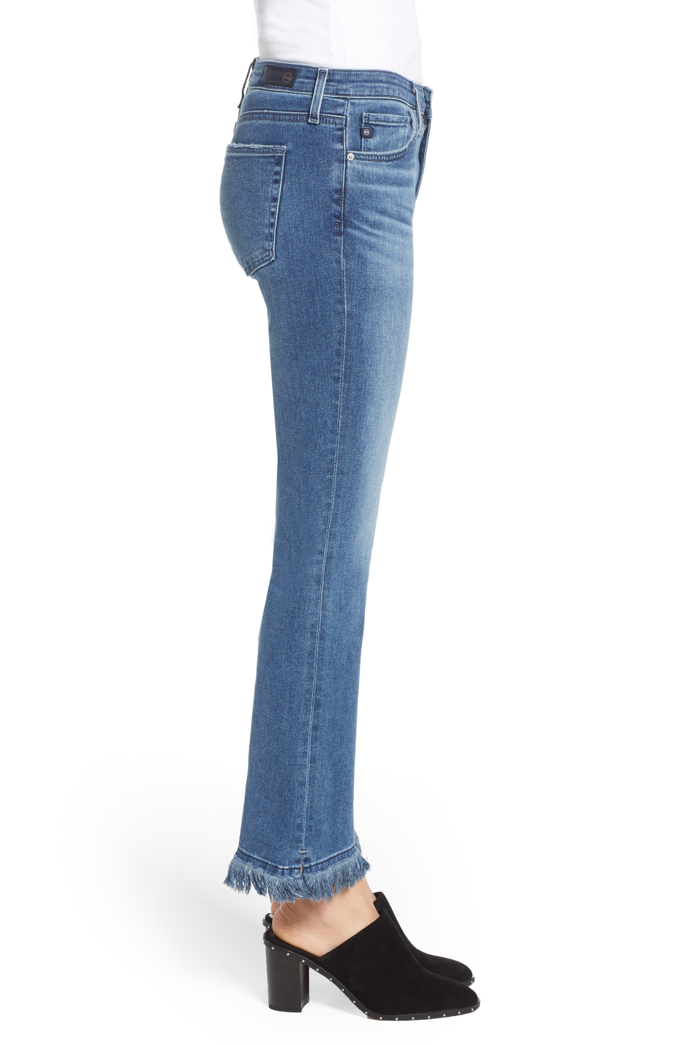 Jodi Crop Fringe Jeans,                             Alternate thumbnail 3, color,                             Pastoral Plains