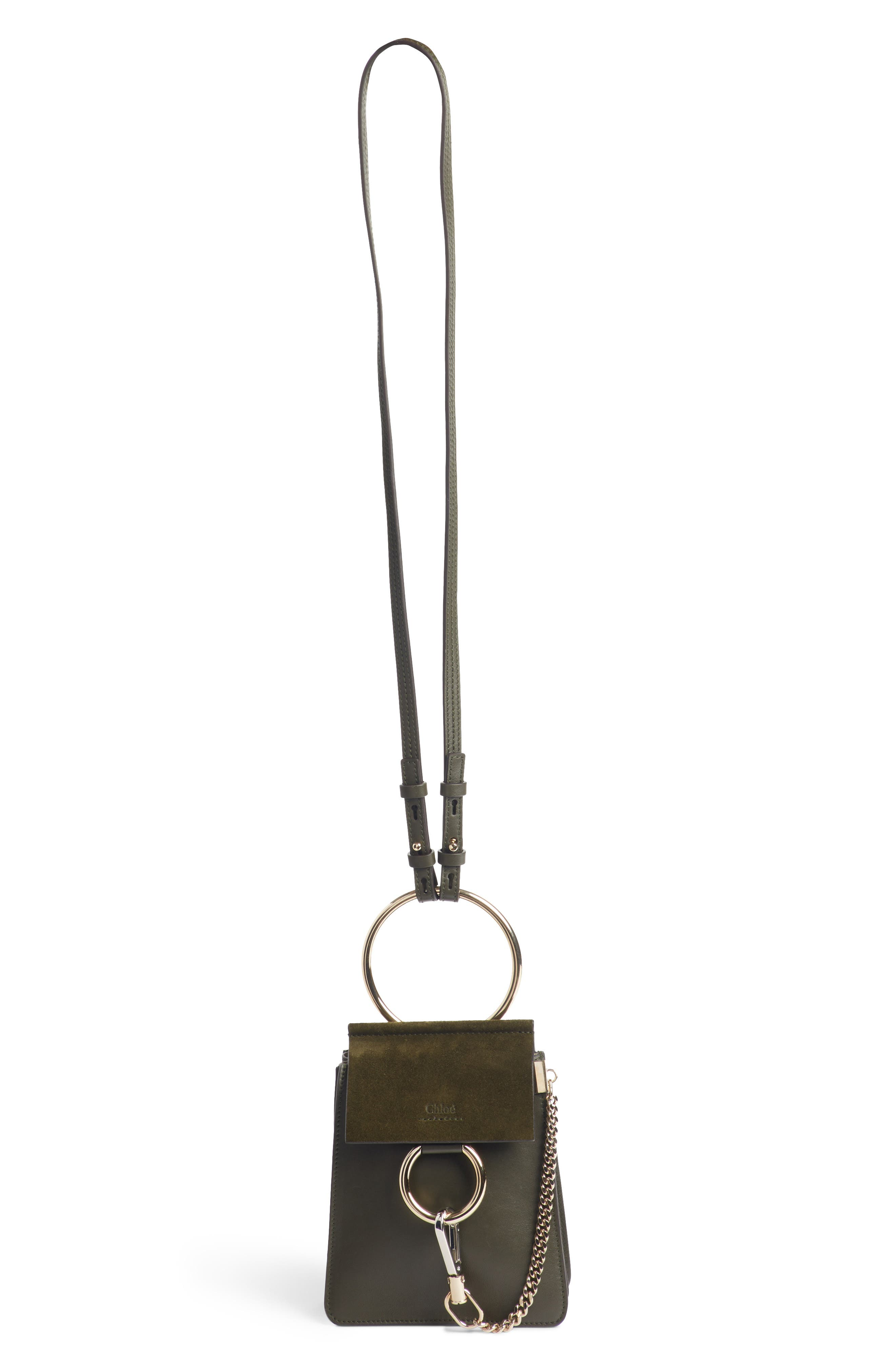 Faye Small Suede & Leather Bracelet Bag,                             Main thumbnail 1, color,                             Deep Forest
