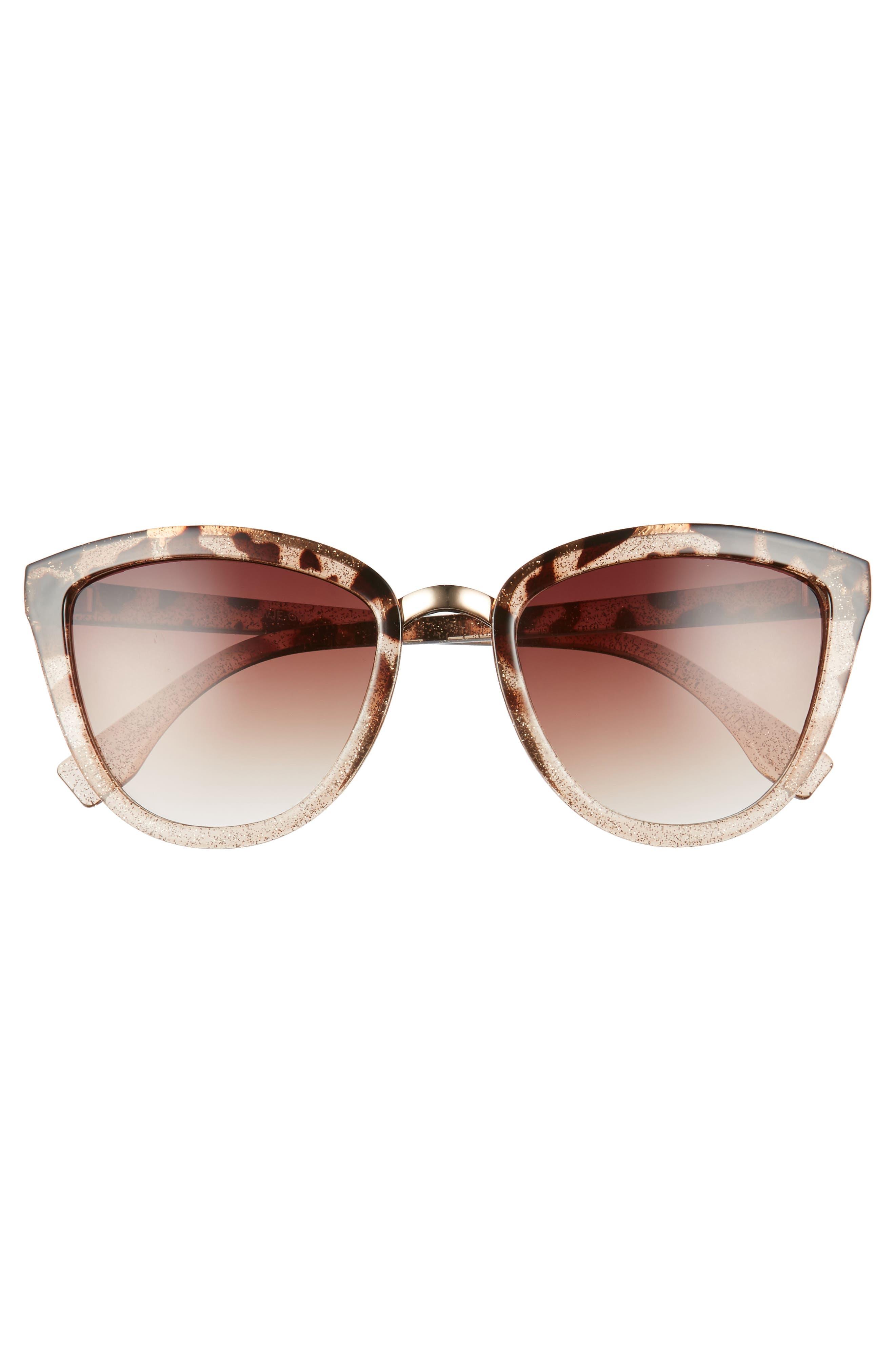54mm Sparkle Cat Eye Sunglasses,                             Alternate thumbnail 3, color,                             Tort