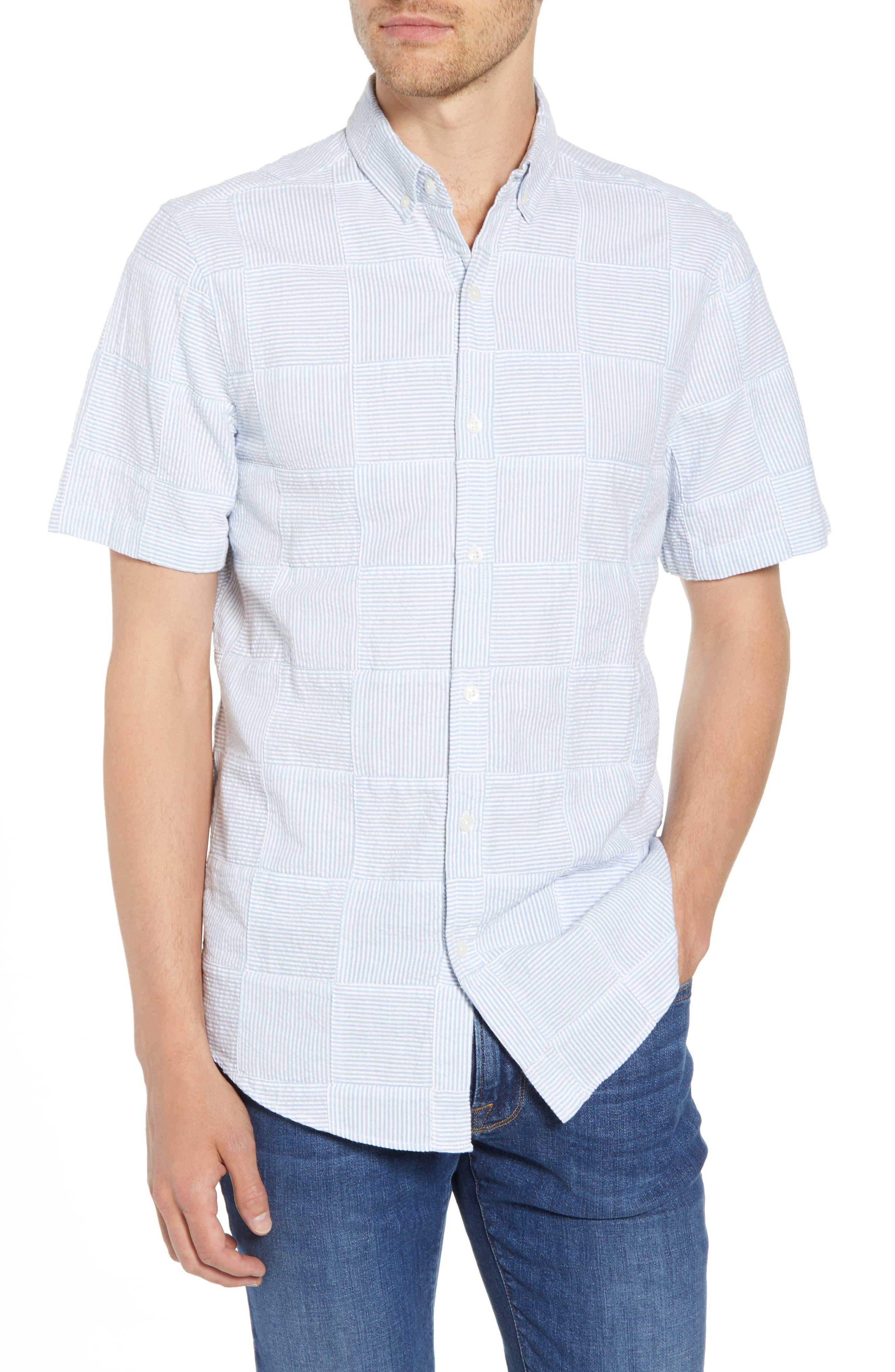 Stripe Patchwork Slim Fit Sport Shirt,                             Main thumbnail 1, color,                             Ocean Breeze