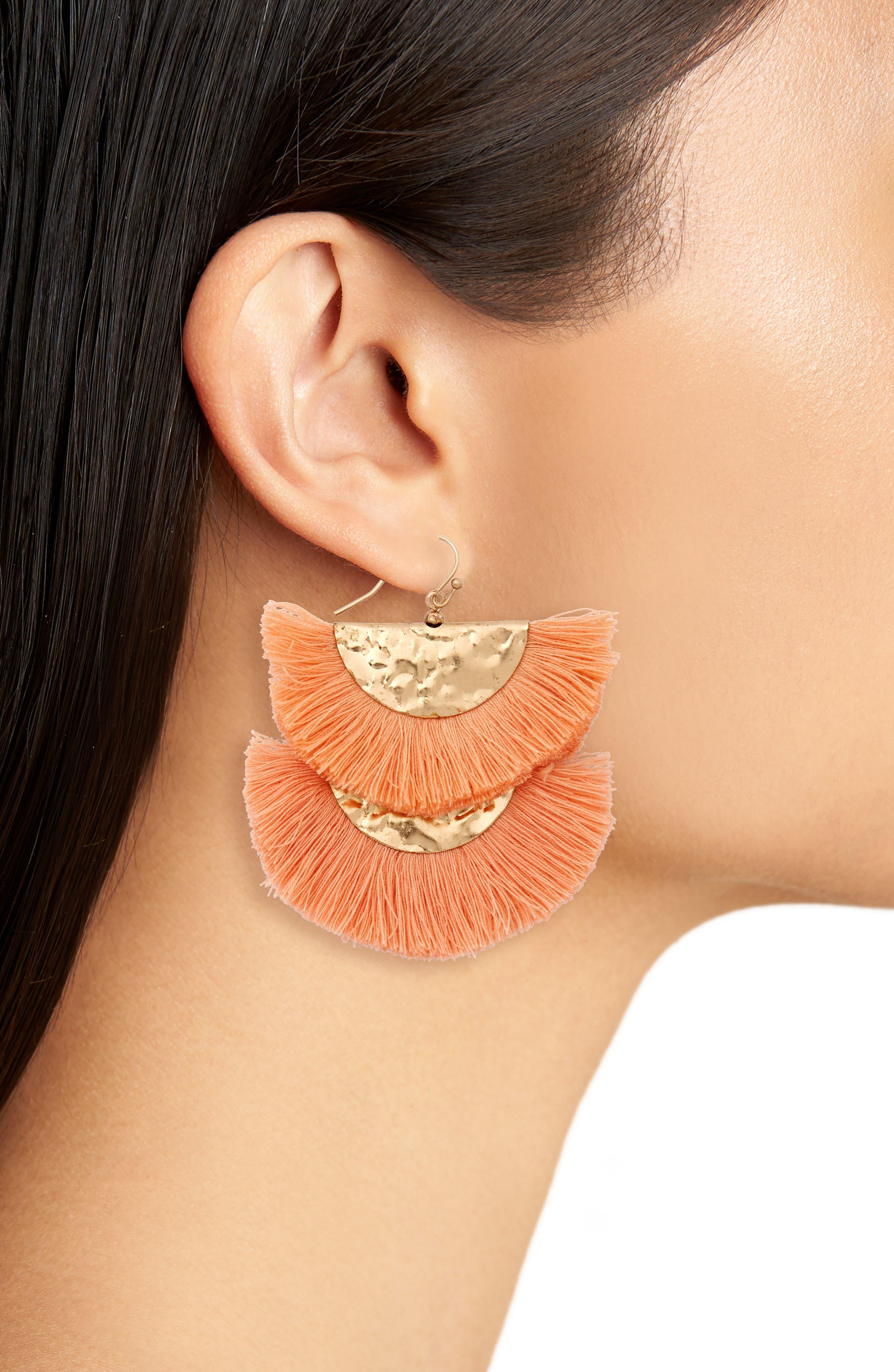 Two Tier Fan Earrings,                             Alternate thumbnail 2, color,                             Orange/ Gold