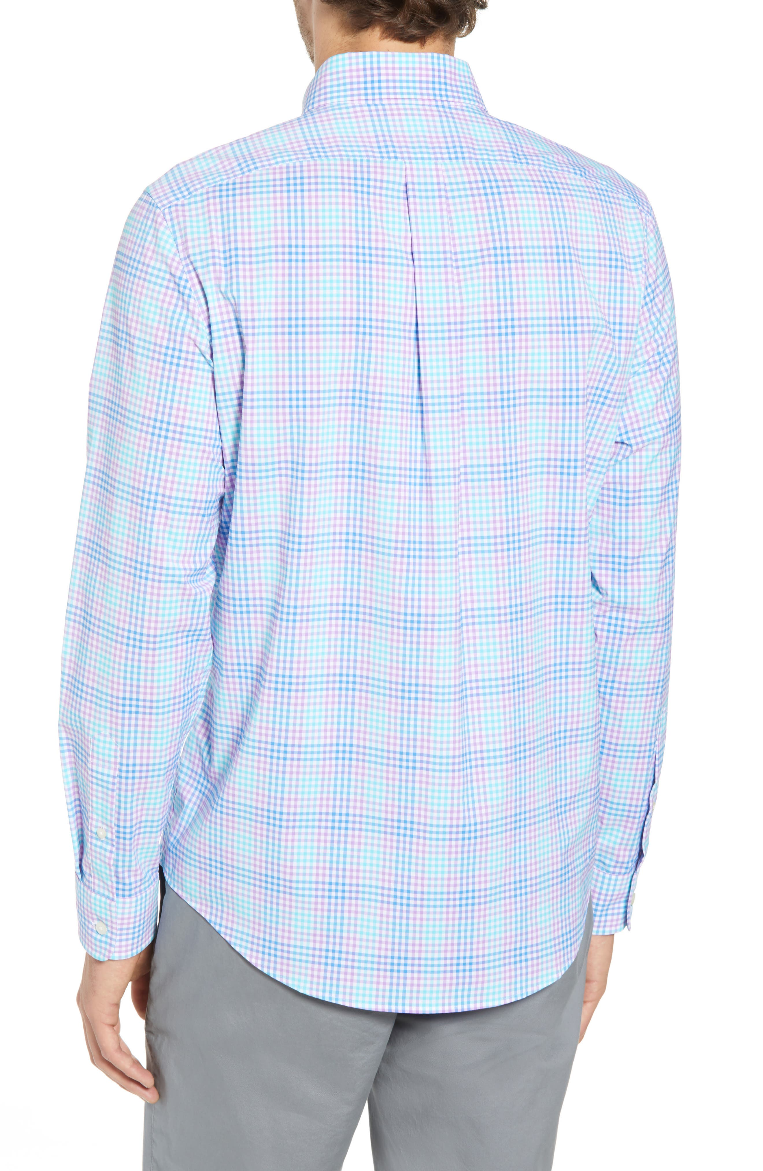 Ridge Hill Slim Fit Check Performance Sport Shirt,                             Alternate thumbnail 3, color,                             Turquoise