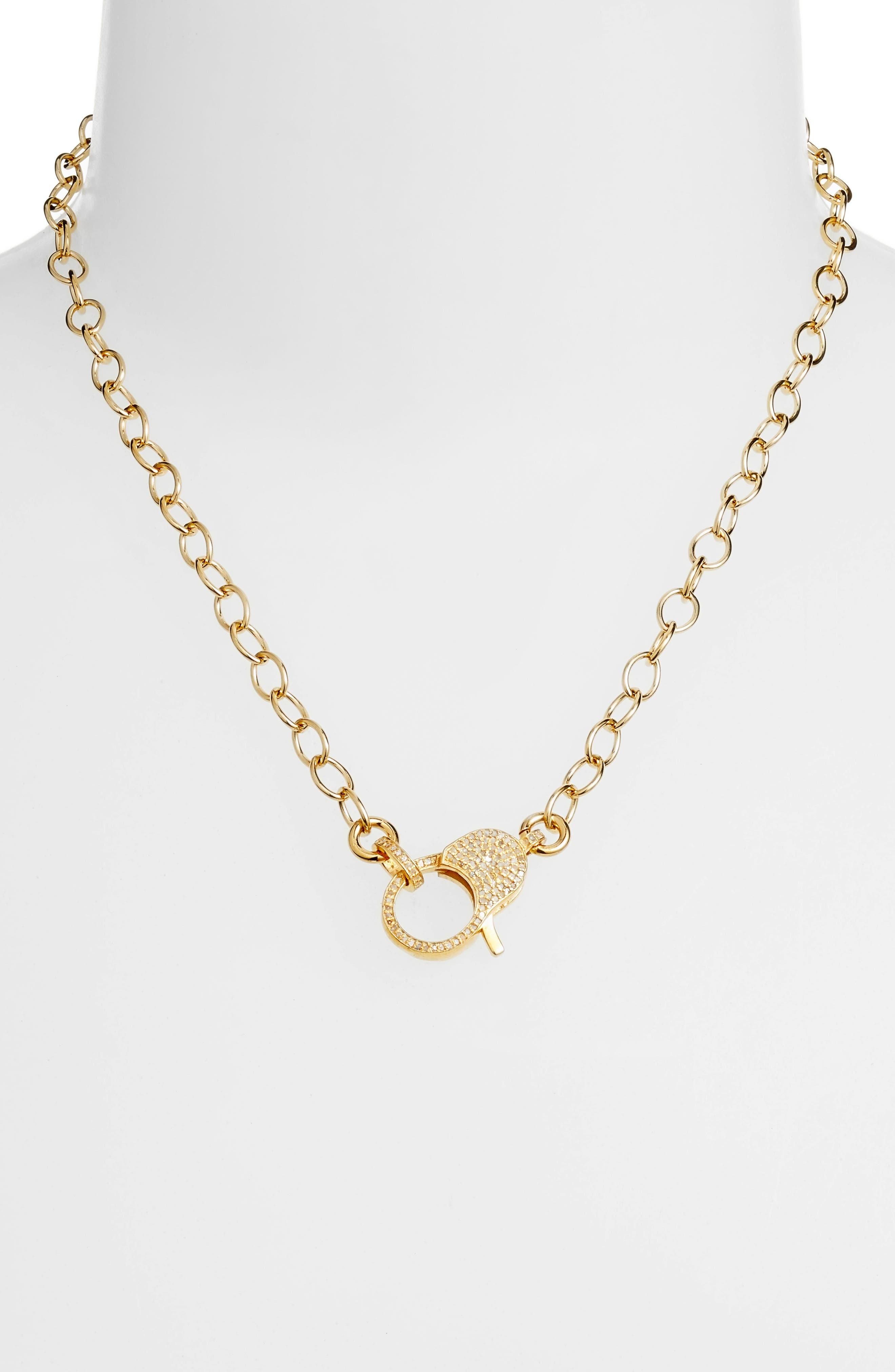 Jane Basch Pavé Lock Chain Necklace,                             Alternate thumbnail 2, color,                             Gold