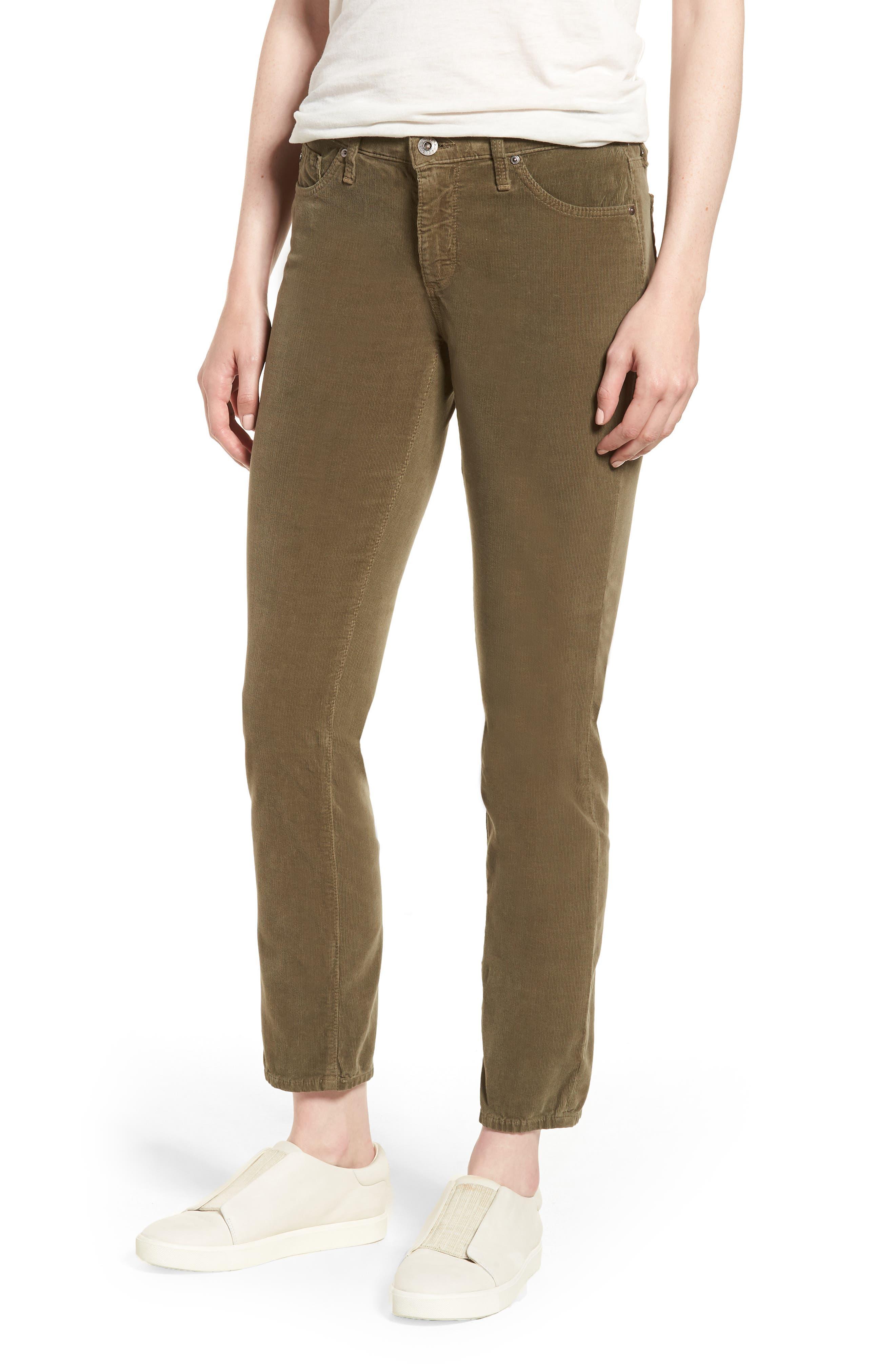 'Prima' Corduroy Skinny Pants,                             Main thumbnail 1, color,                             Dried Agave