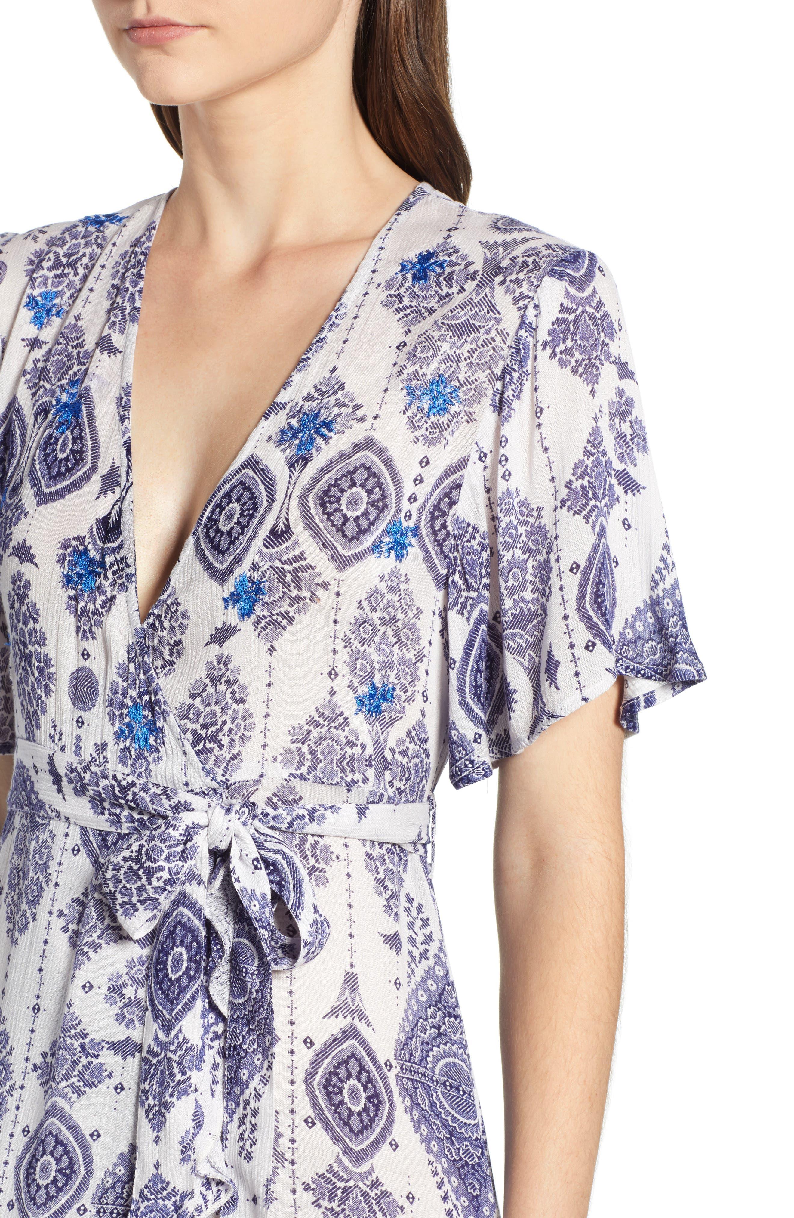 Andrea Maxi Dress,                             Alternate thumbnail 6, color,                             Blue/ White