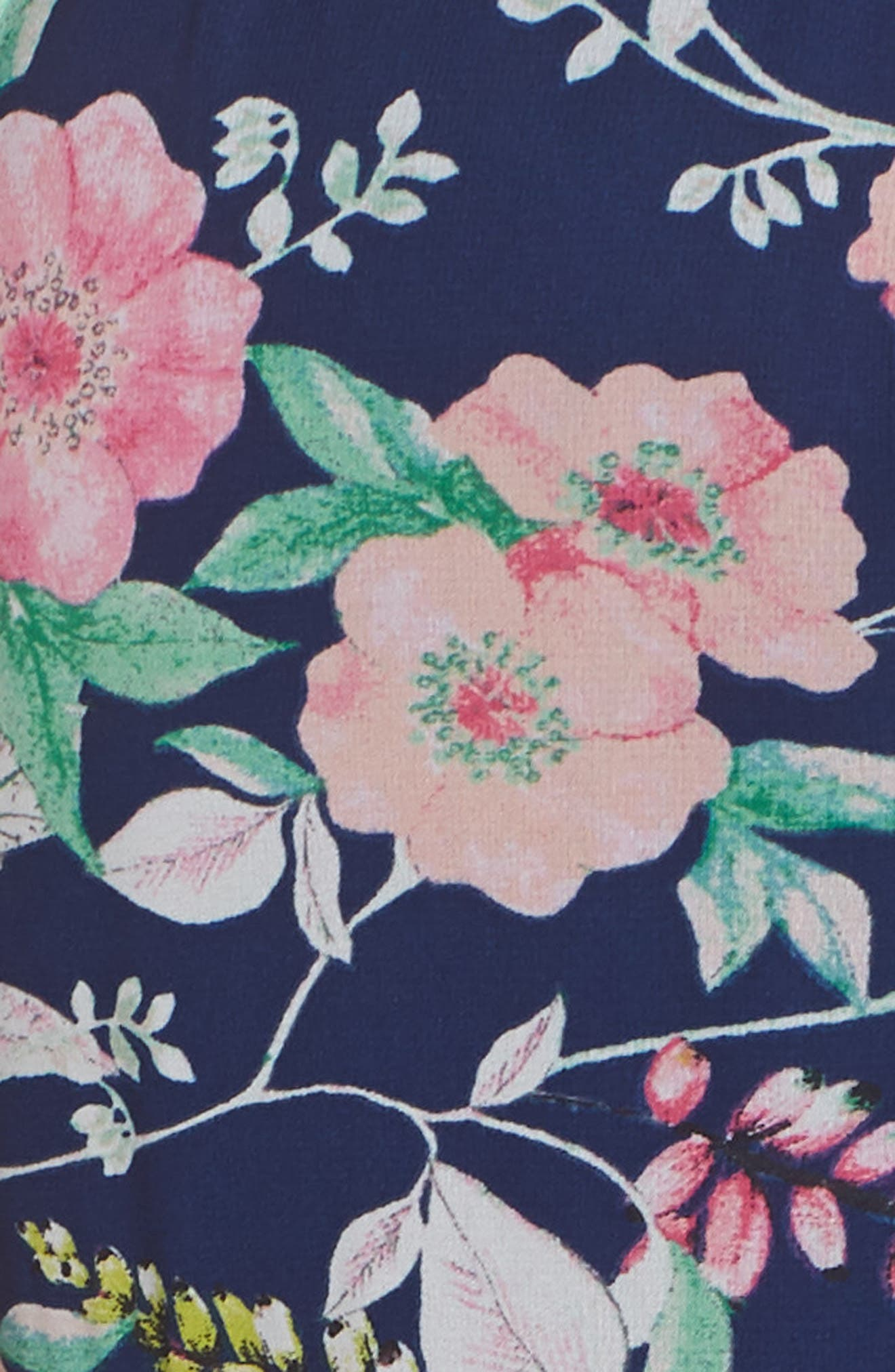 Halter Neck Fit & Flare Dress,                             Alternate thumbnail 6, color,                             Navy/ Pink