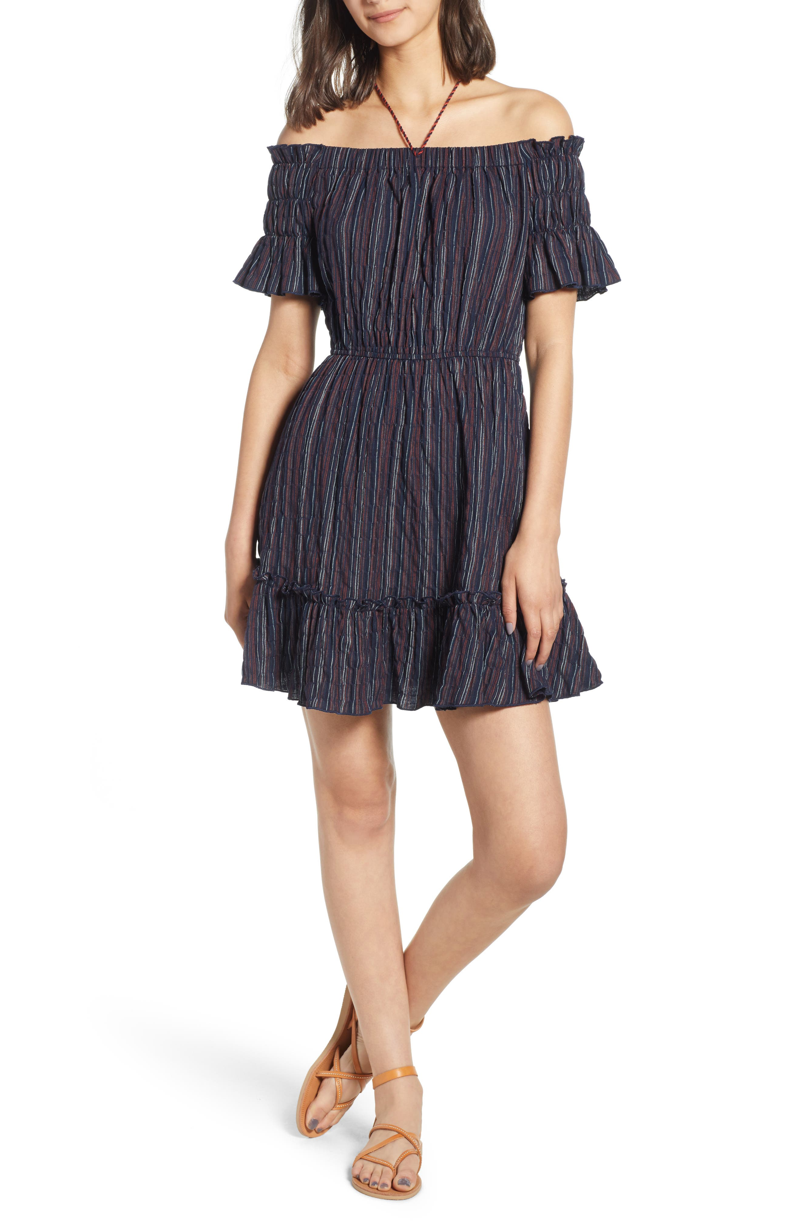 Stripe Off the Shoulder Dress,                             Main thumbnail 1, color,                             Navy
