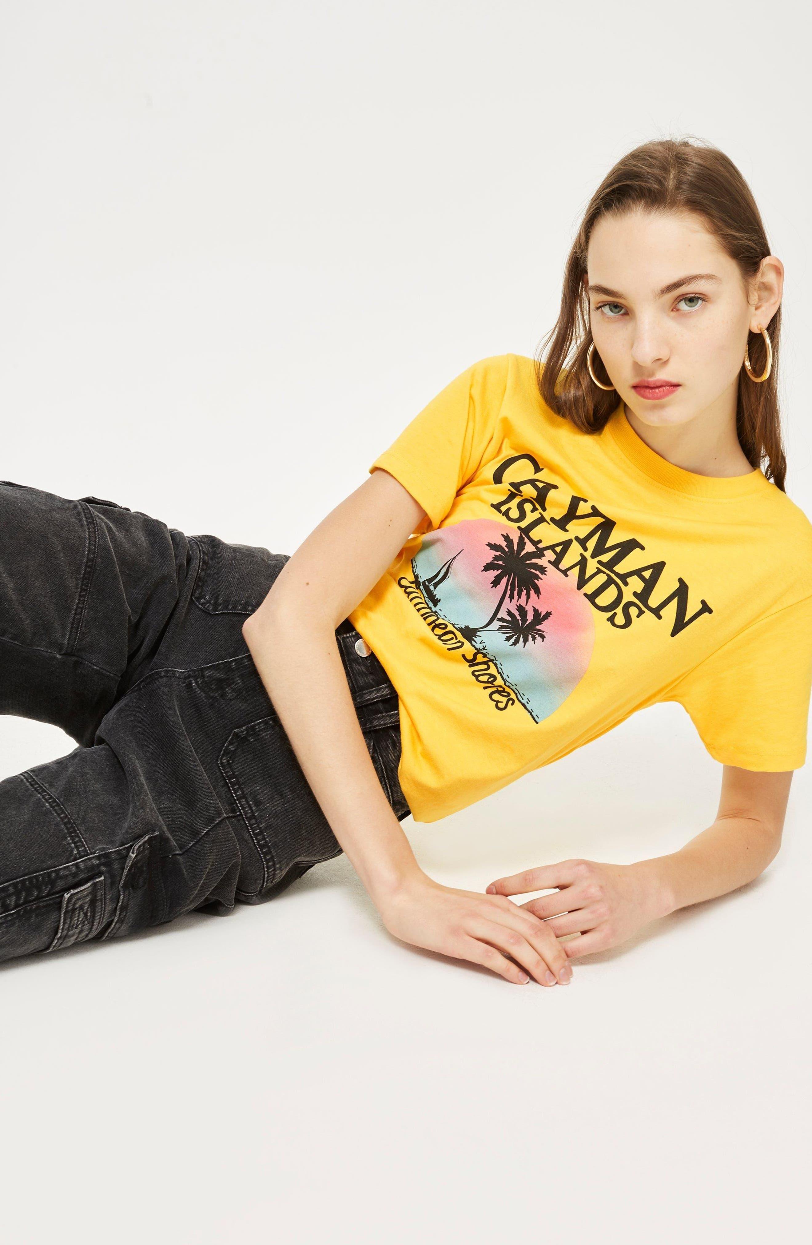 Cayman Island Print T-Shirt,                             Alternate thumbnail 2, color,                             Yellow Multi
