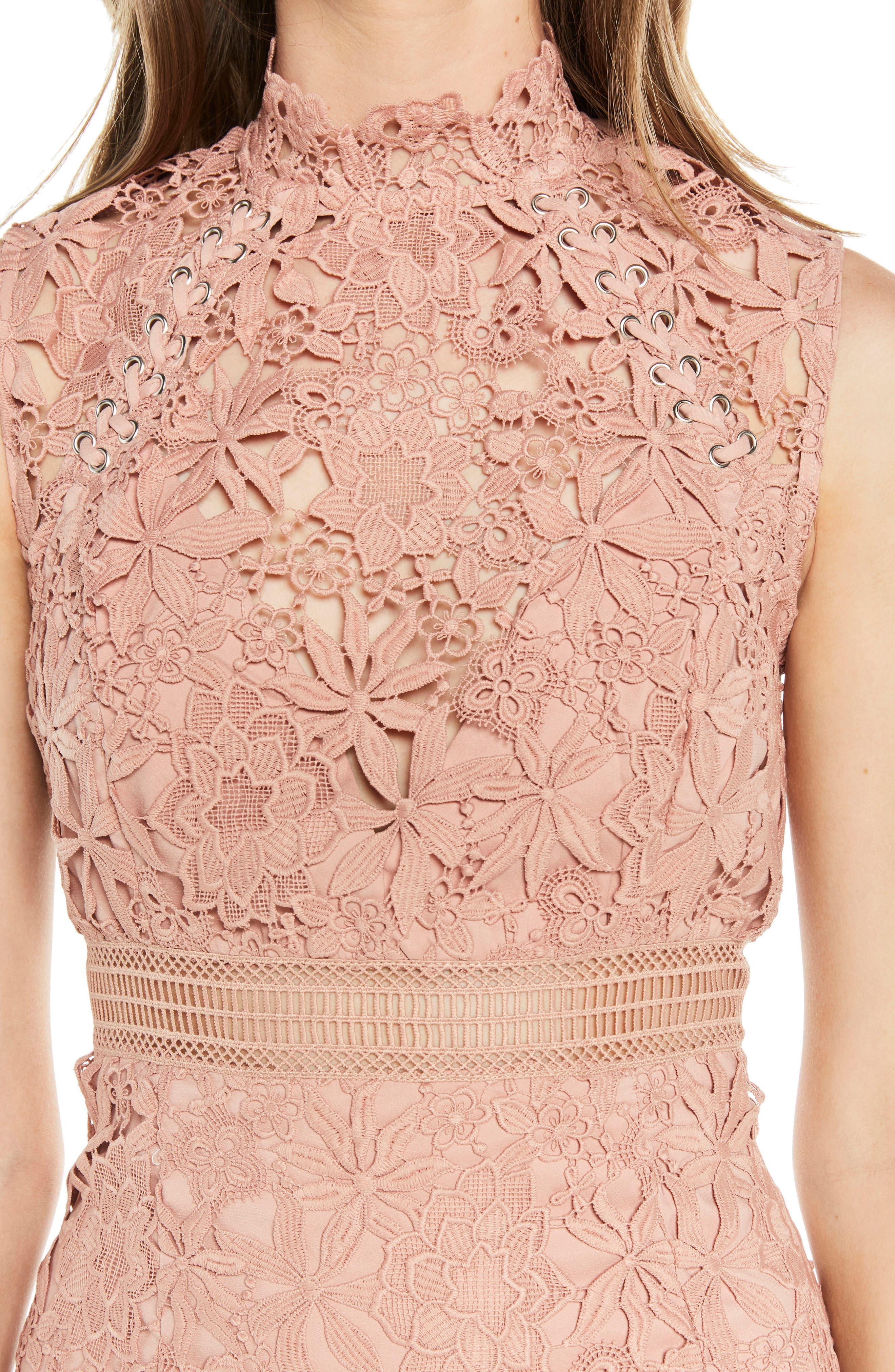 Paris Lace Body-Con Dress,                             Alternate thumbnail 4, color,                             Bloom