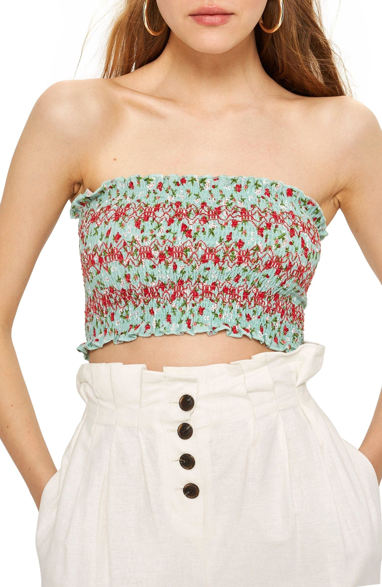 Floral Print Tube Top,                         Main,                         color, Green Multi