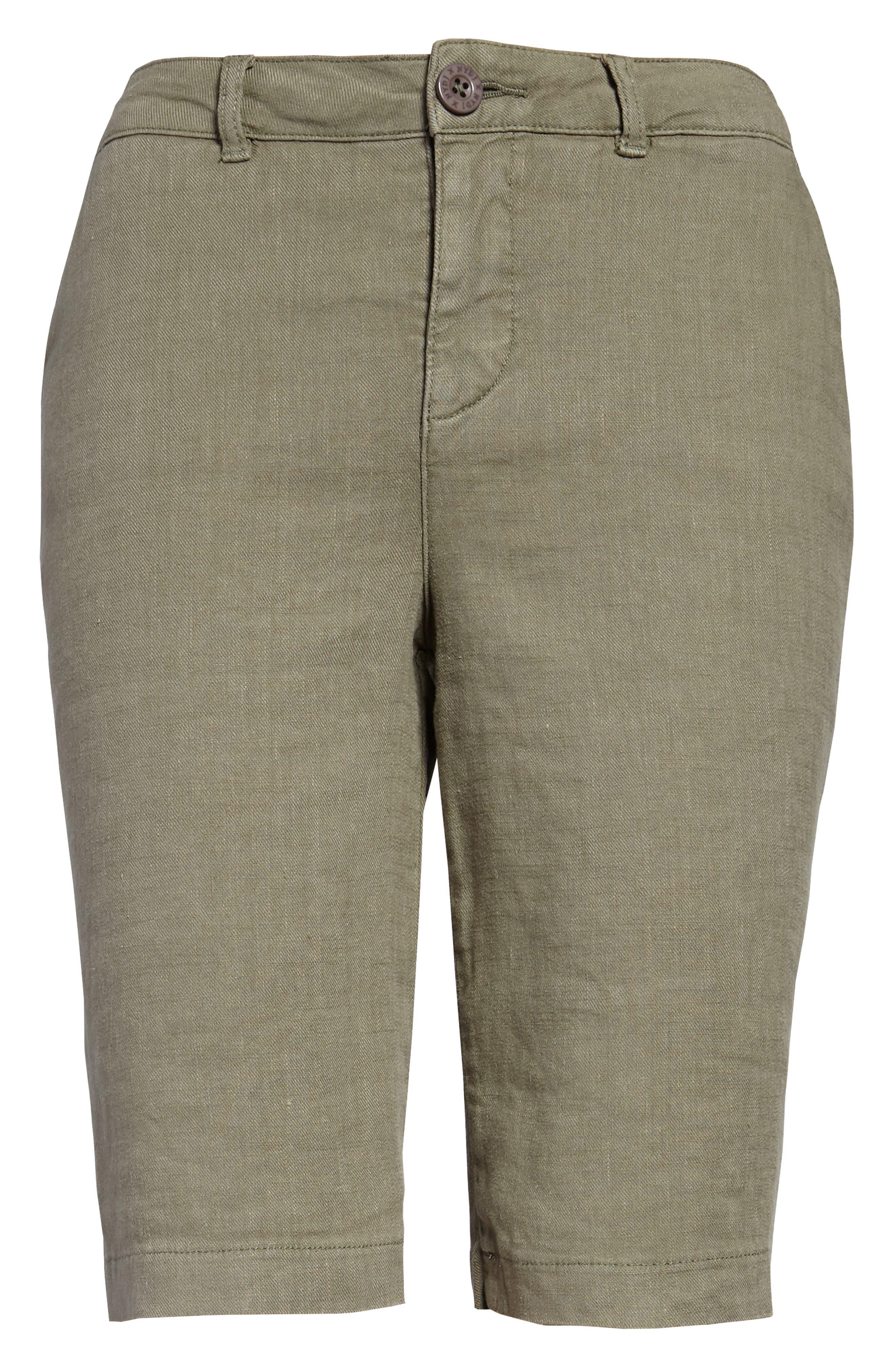 Stretch Linen Blend Bermuda Shorts,                             Alternate thumbnail 4, color,                             Topiary