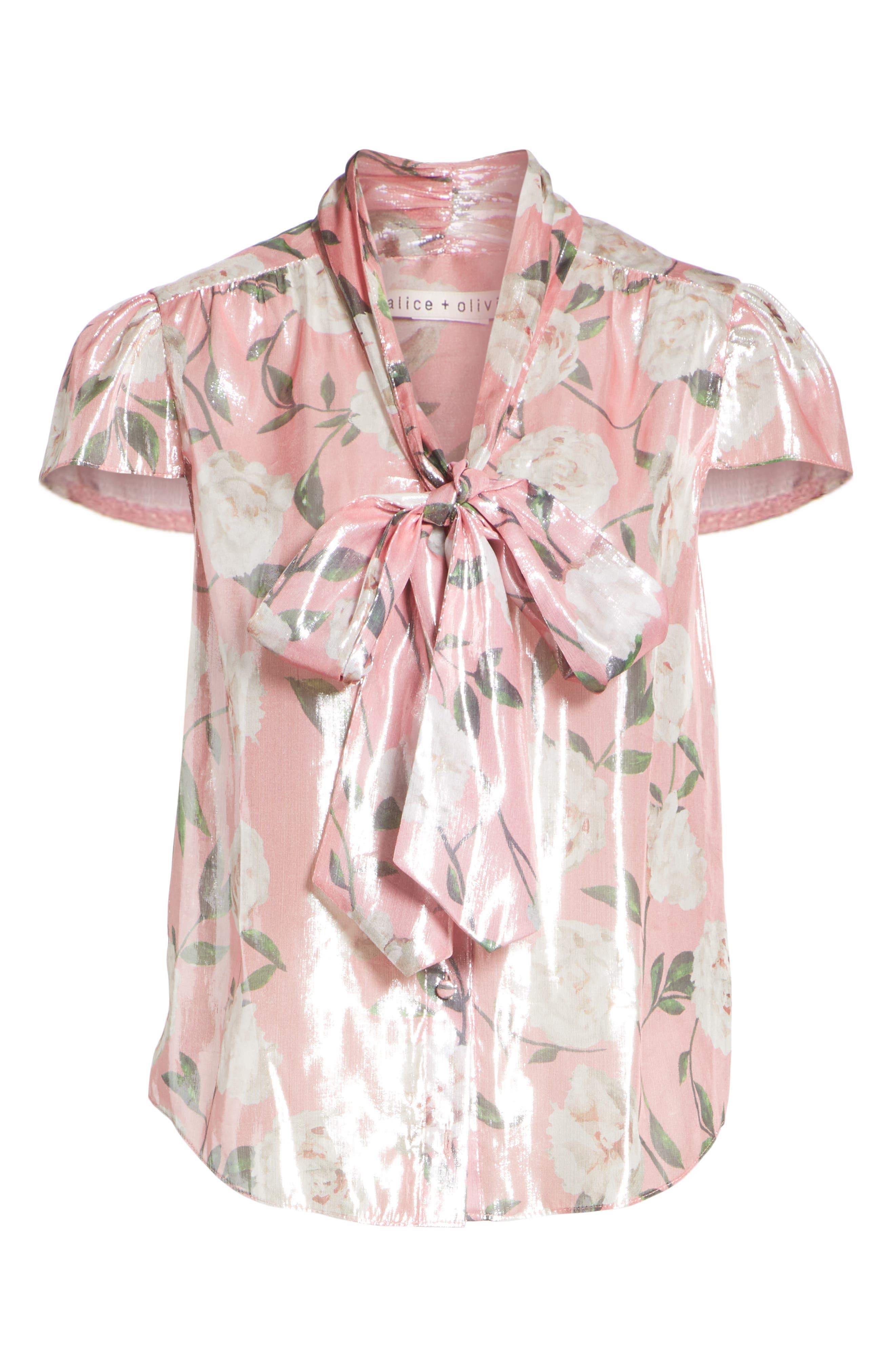Jeannie Bow Collar Silk Blend Top,                             Alternate thumbnail 6, color,                             Peony Garden Wall/ Bubblegum