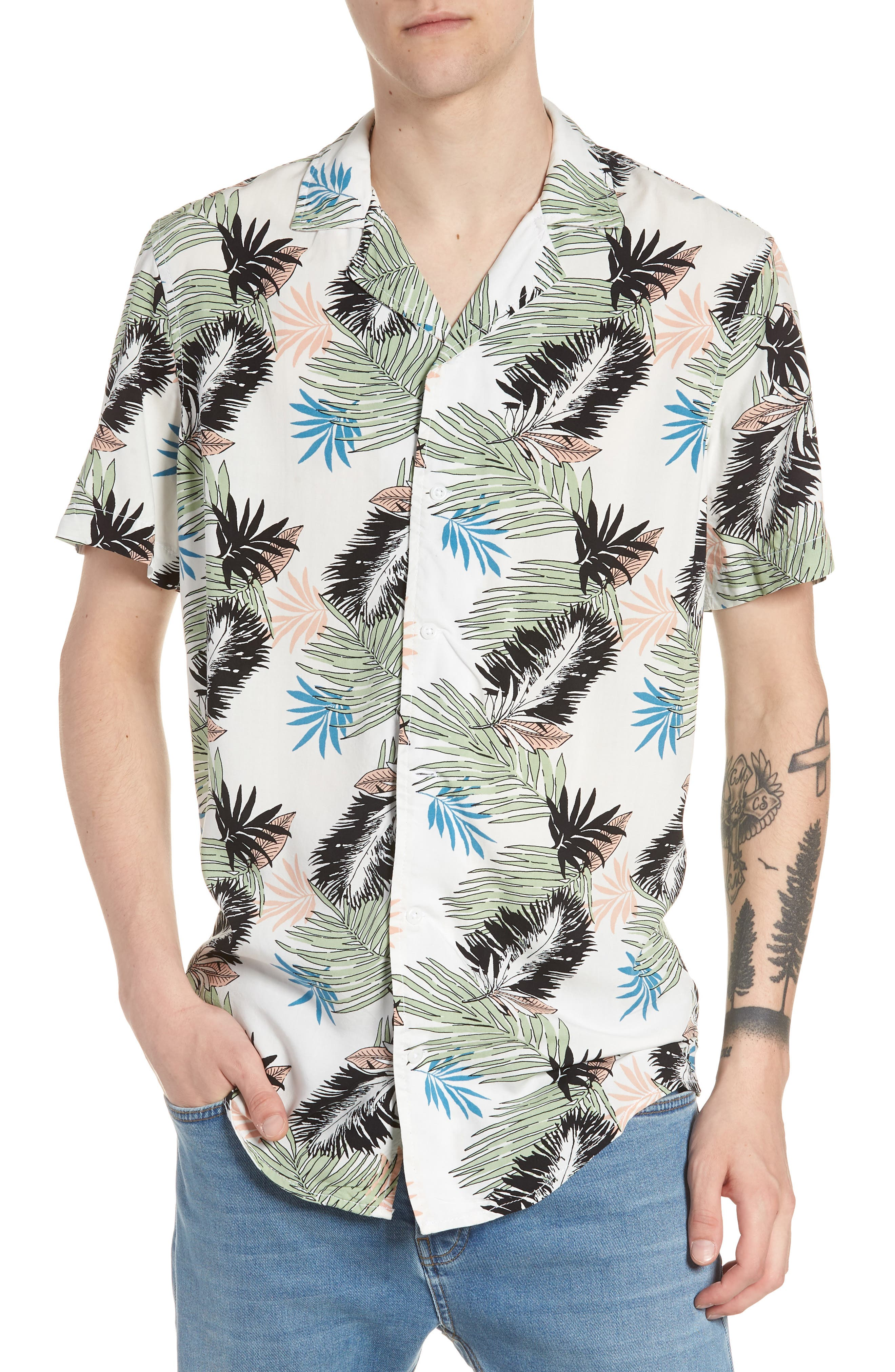 Print Woven Shirt,                             Main thumbnail 1, color,                             White Pink Leaf Print
