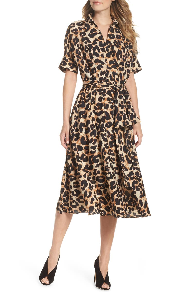 Eliza J Animal Print Midi Shirtdress | Nordstrom