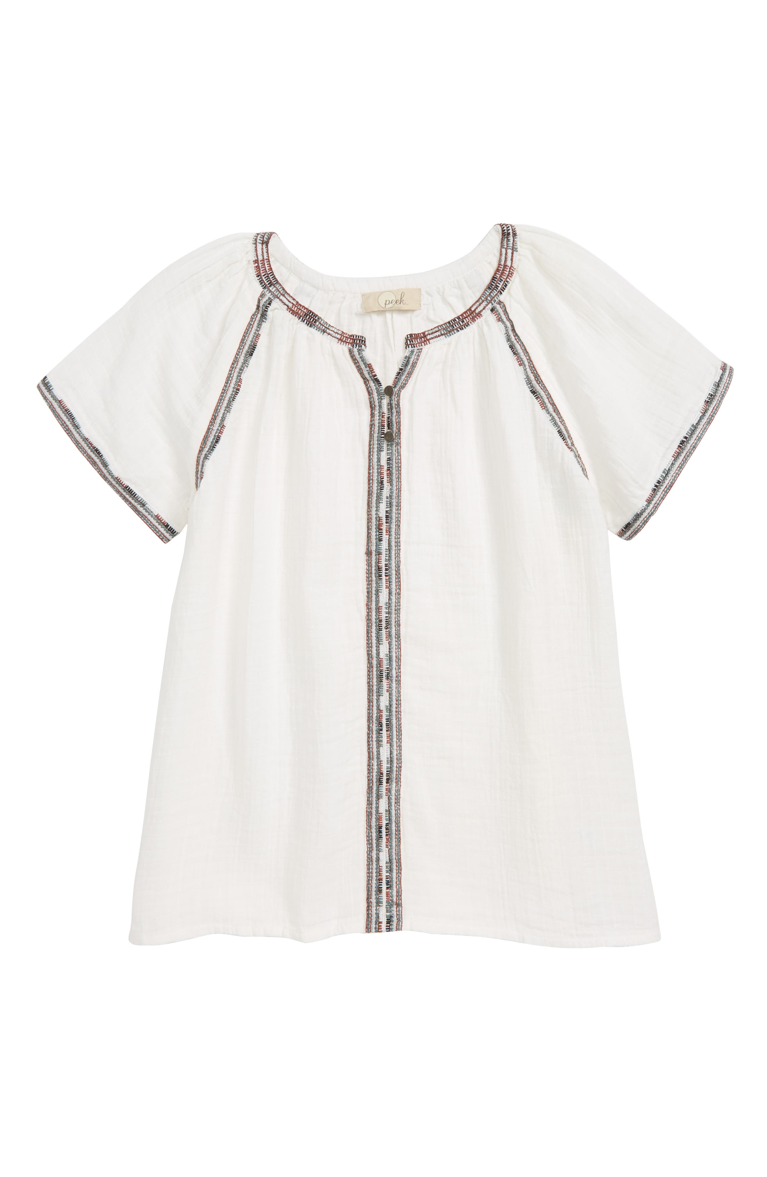 Evelyn Embroidered Top,                         Main,                         color, White