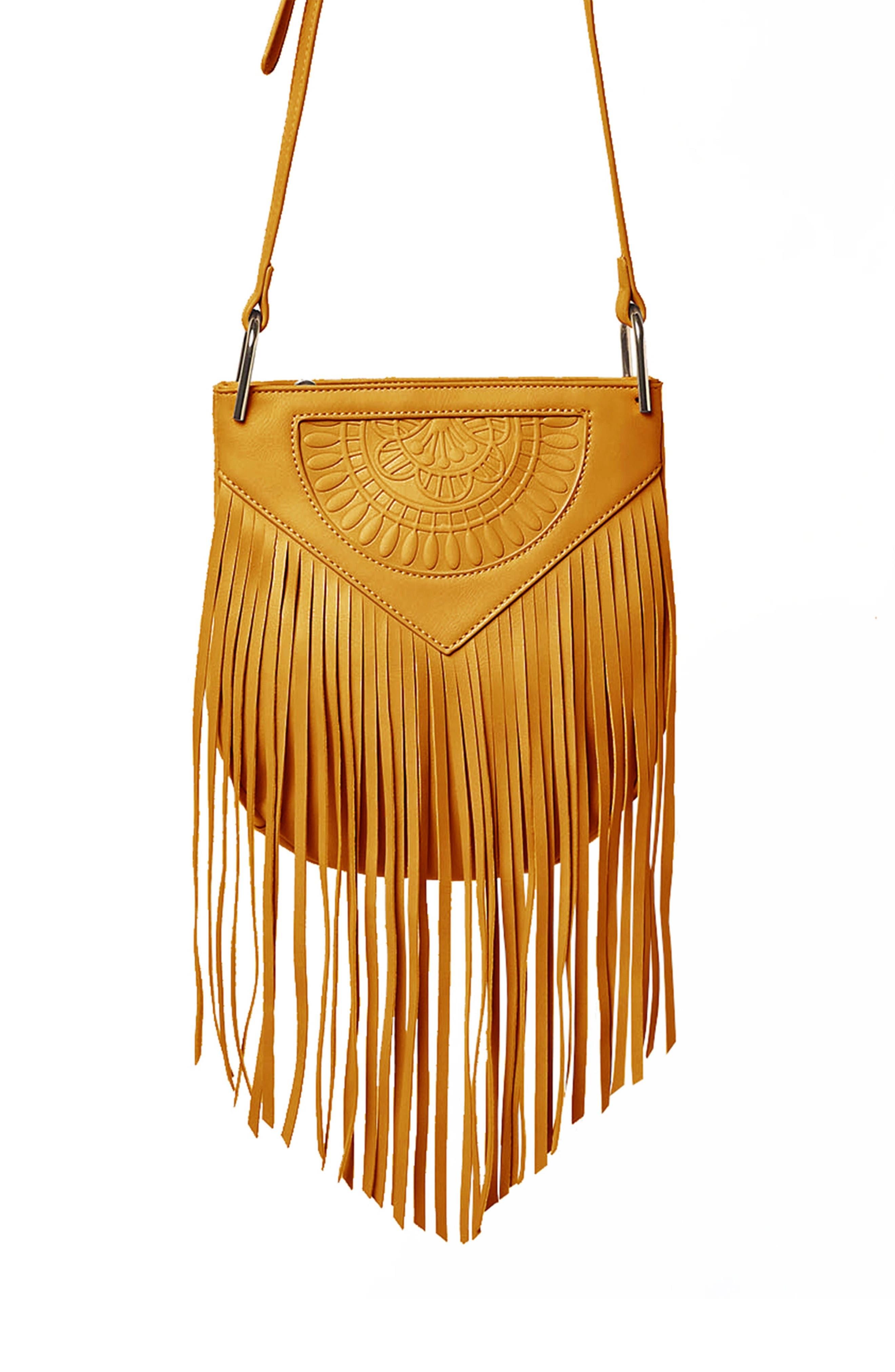 Rose Queen Vegan Leather Crossbody Bag,                         Main,                         color, Mustard