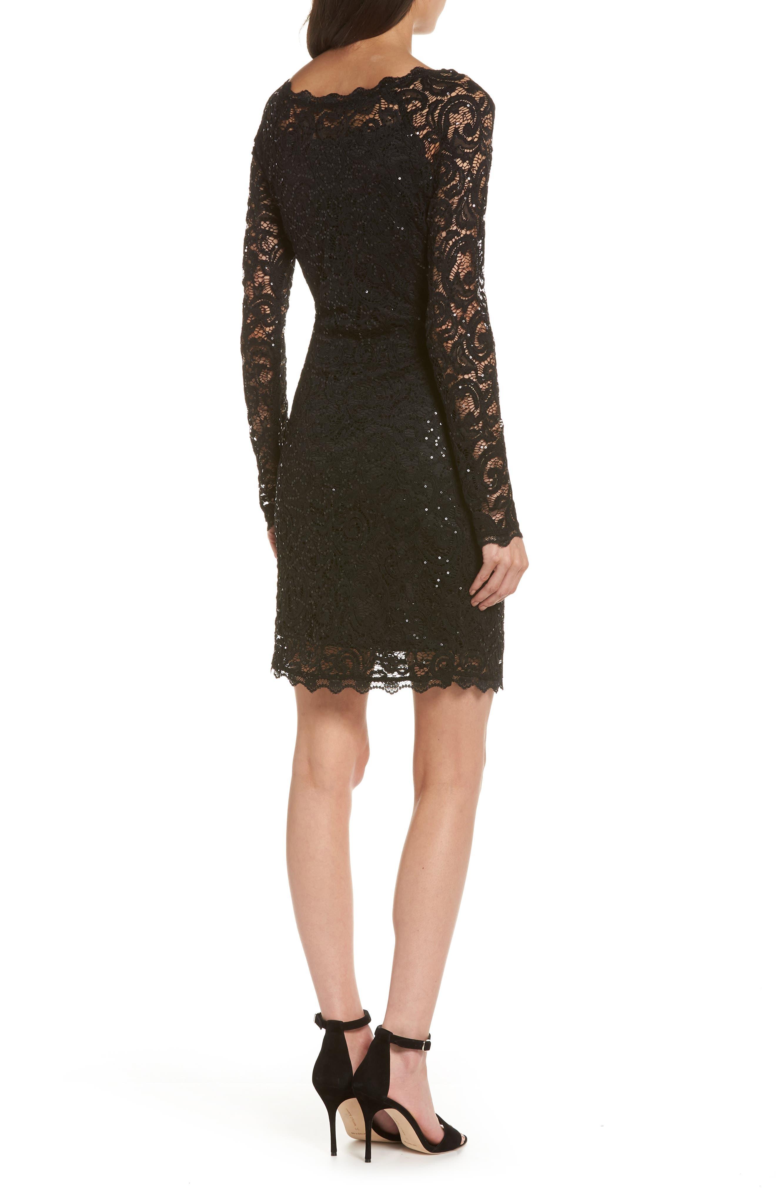 Sequin Lace Sheath Dress,                             Alternate thumbnail 2, color,                             Black