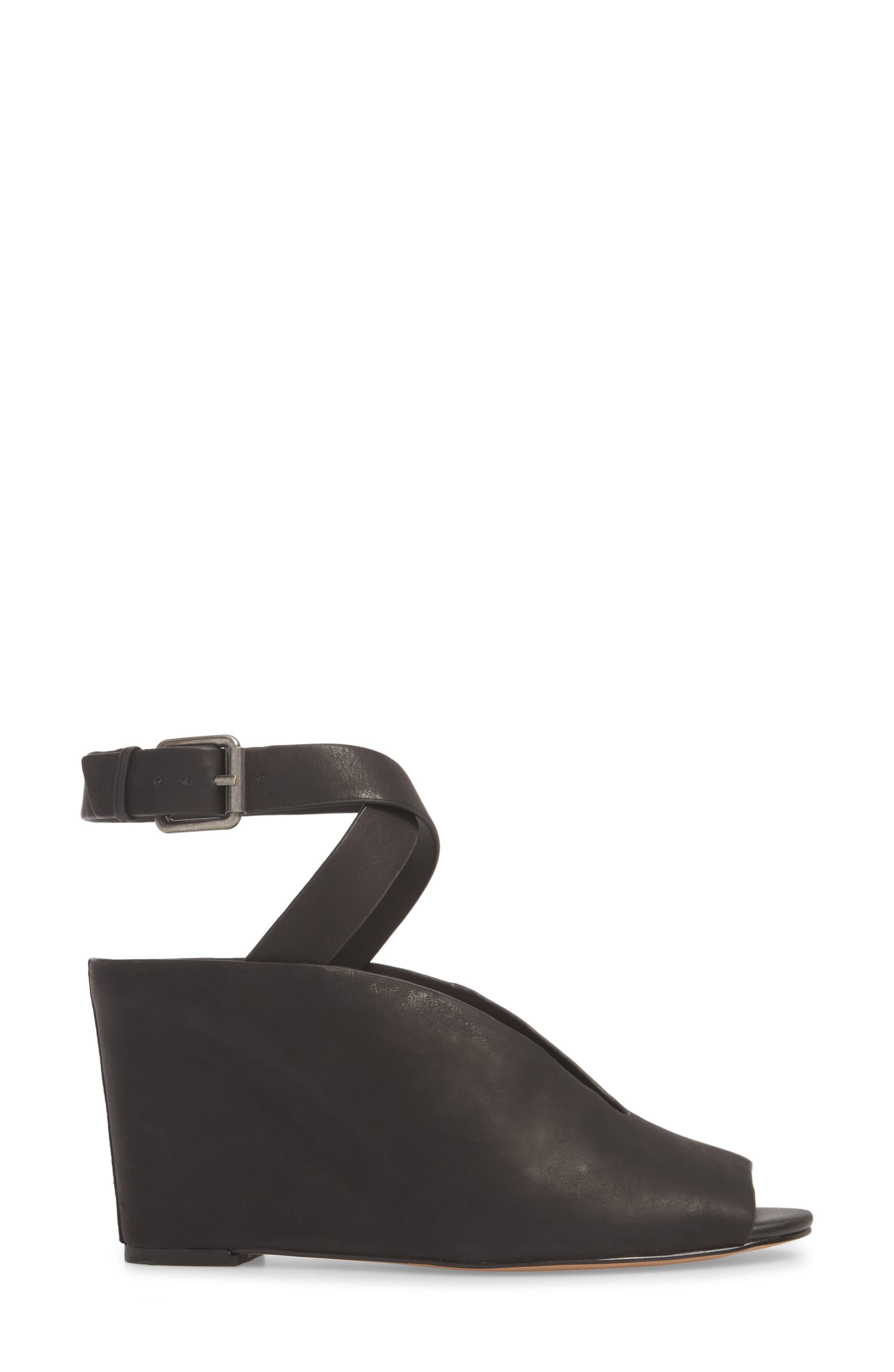 Felidia Wedge Sandal,                             Alternate thumbnail 3, color,                             Black Leather