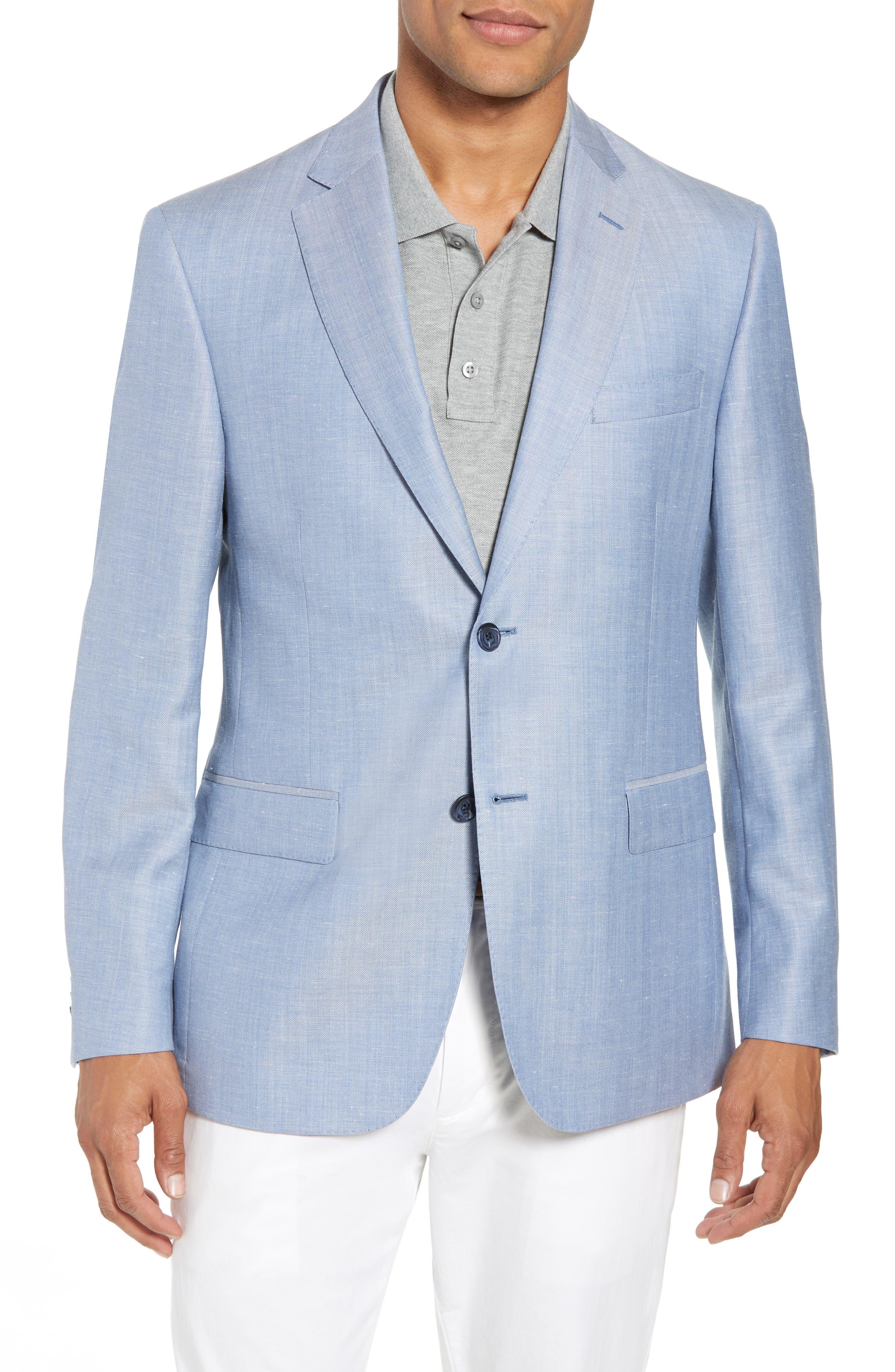 Traditional Fit Herringbone Wool & Linen Sport Coat,                         Main,                         color, Blue