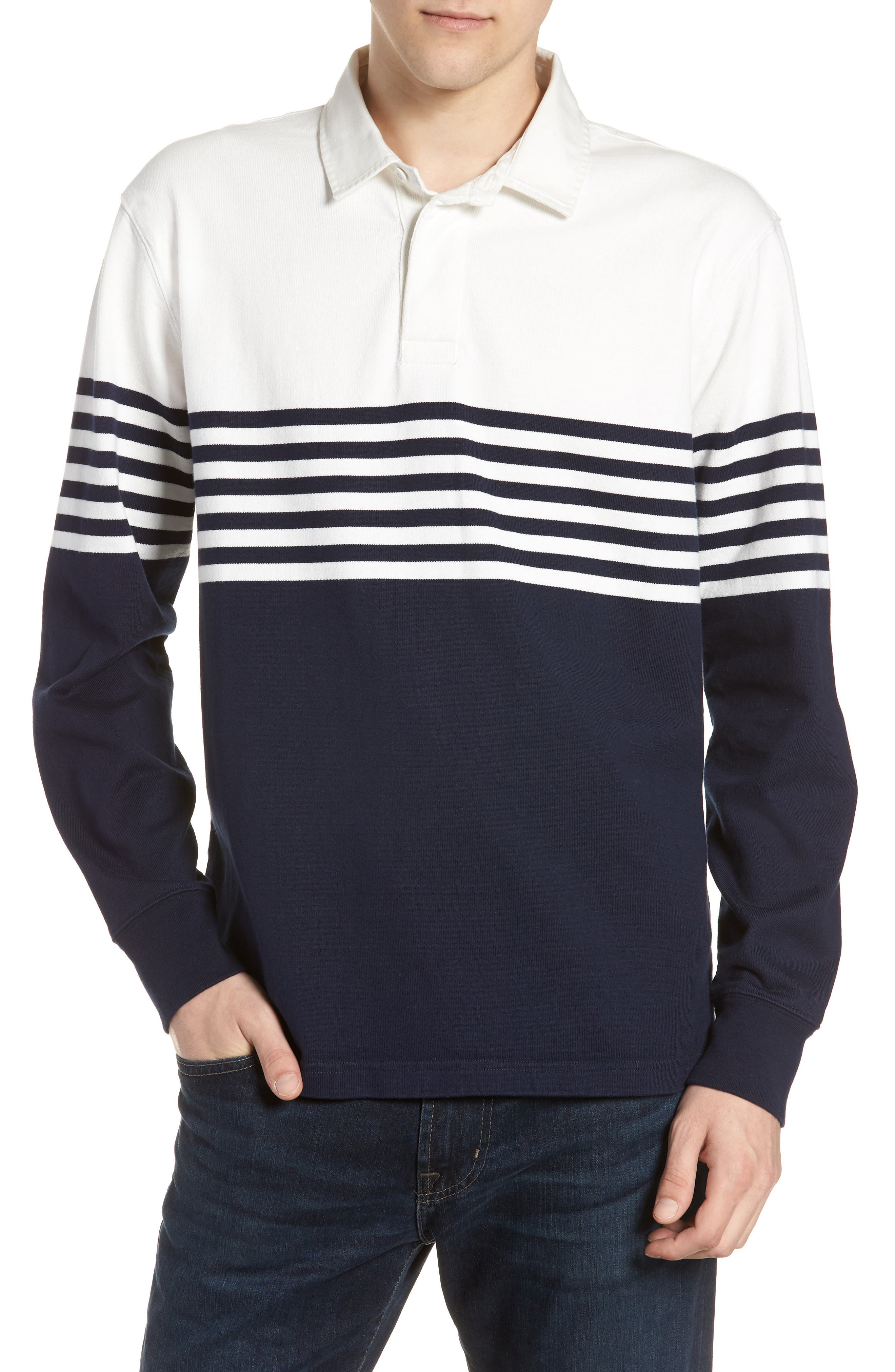 1984 Colorblock Stripe Rugby Shirt,                         Main,                         color, Navy White