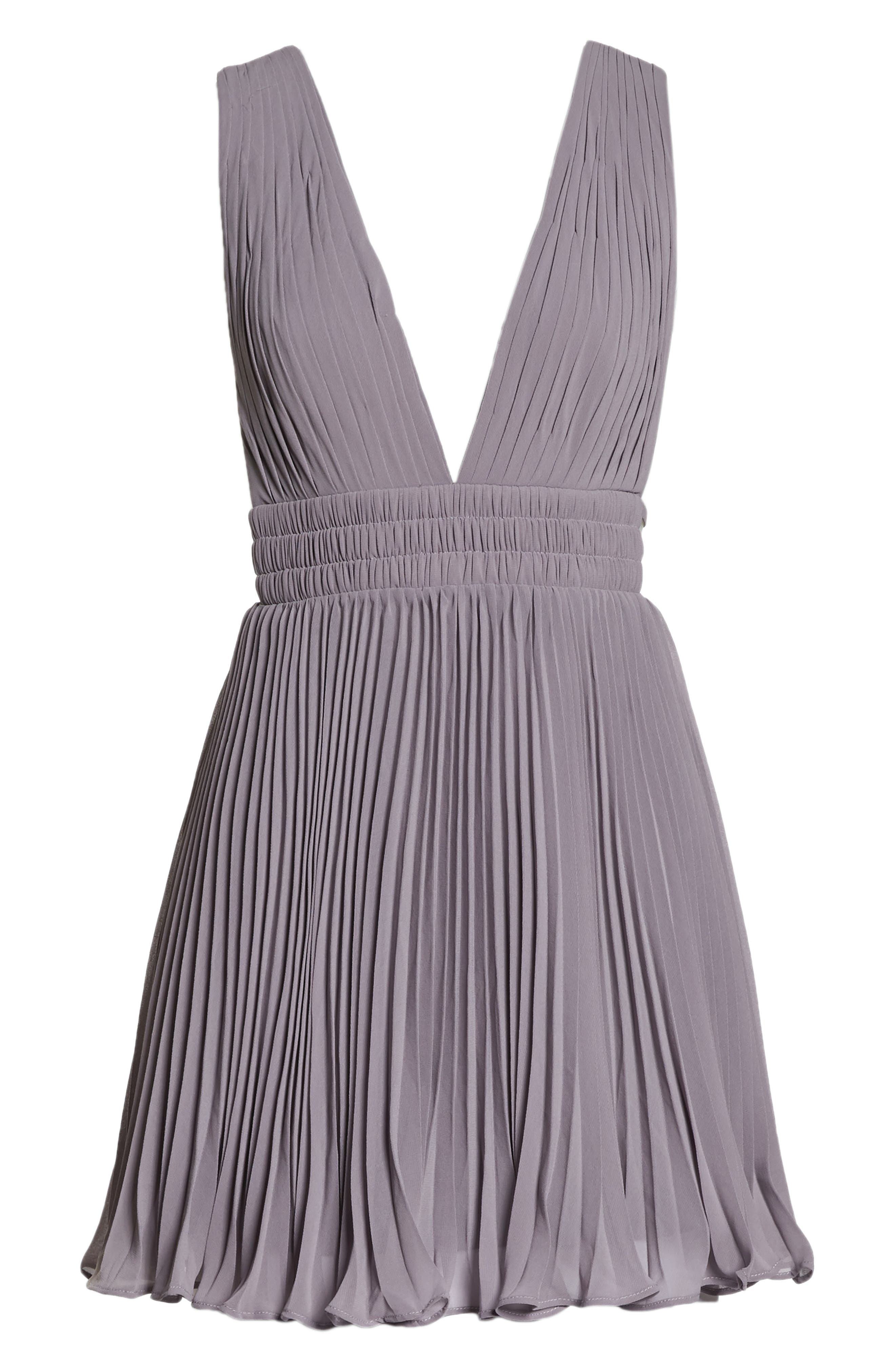 Fame & Partners The Briella Fit & Flare Pleat Dress,                             Alternate thumbnail 7, color,                             Mid-Grey