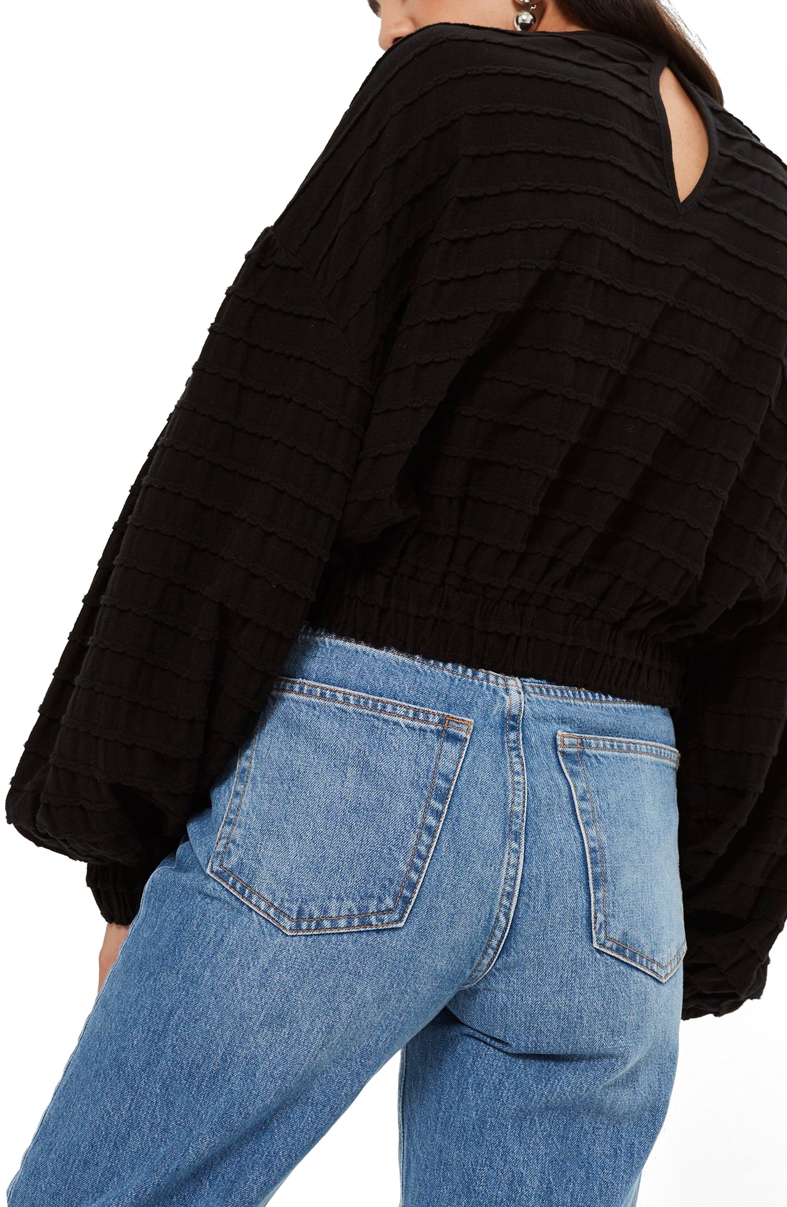 Crochet Inset Top,                             Alternate thumbnail 2, color,                             Black