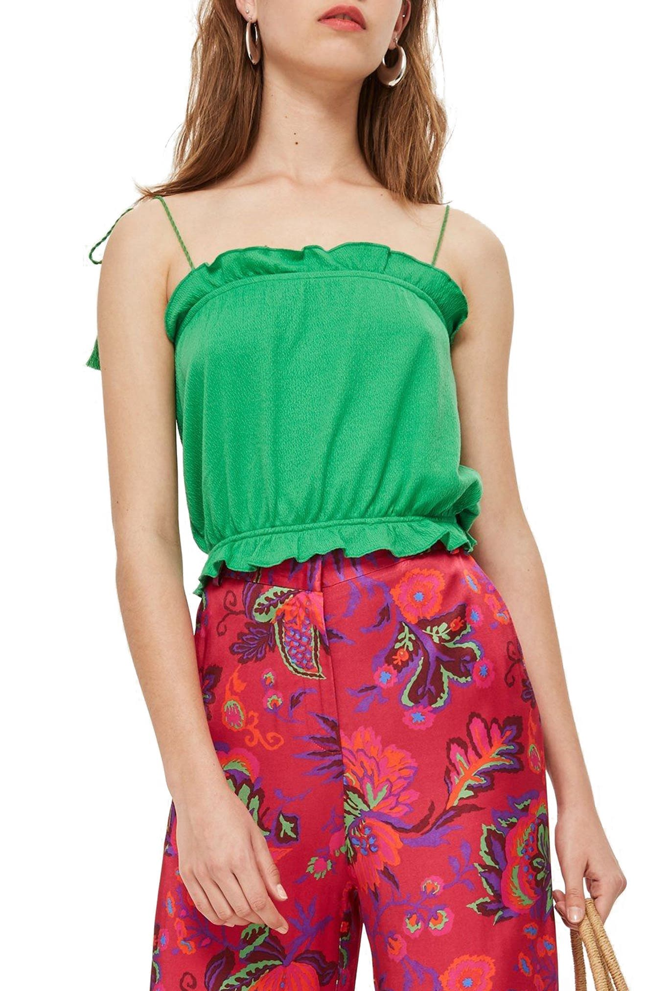 Tassel Tie Camisole Top,                         Main,                         color, Green