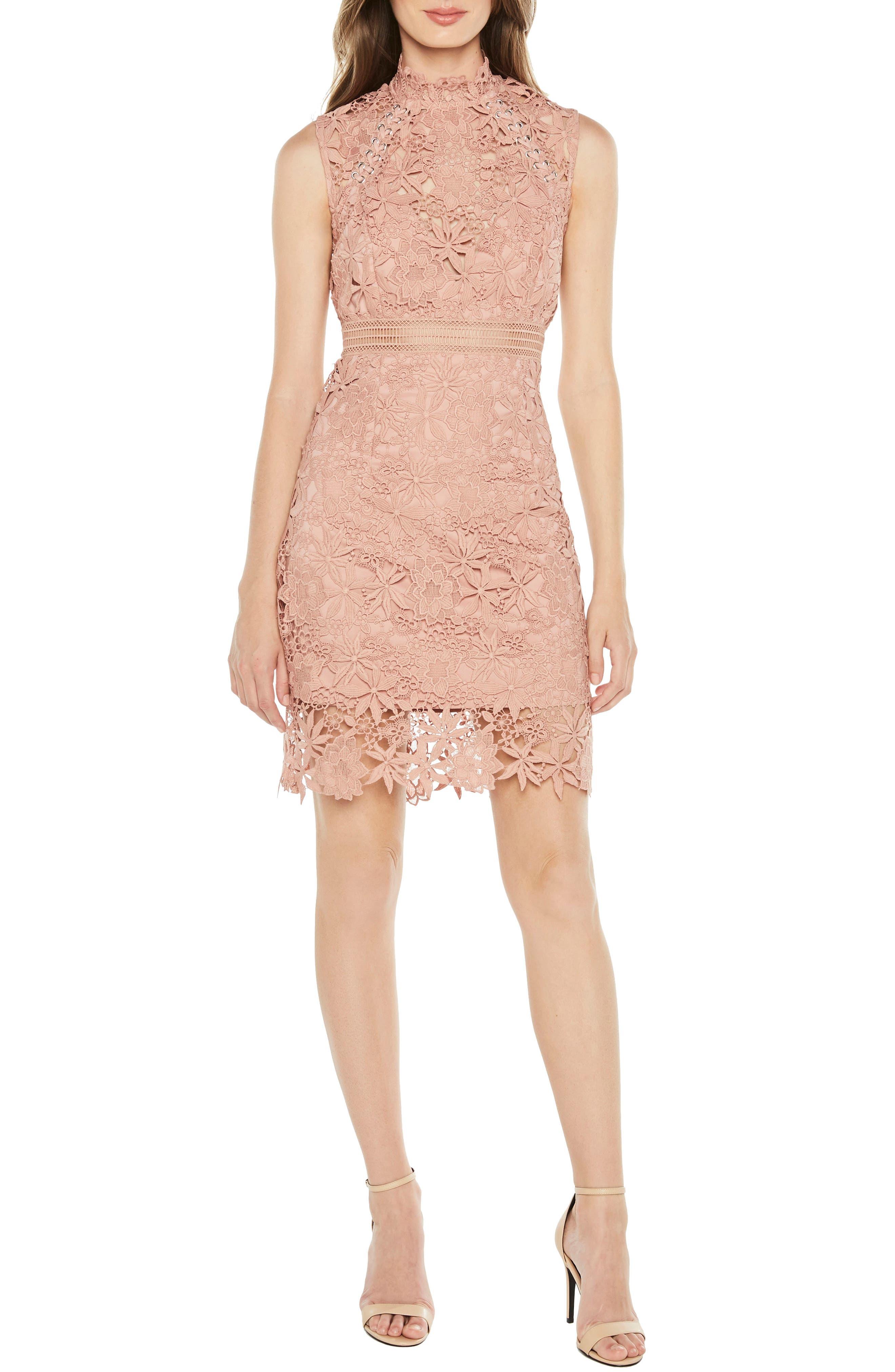 Paris Lace Body-Con Dress,                             Main thumbnail 1, color,                             Bloom