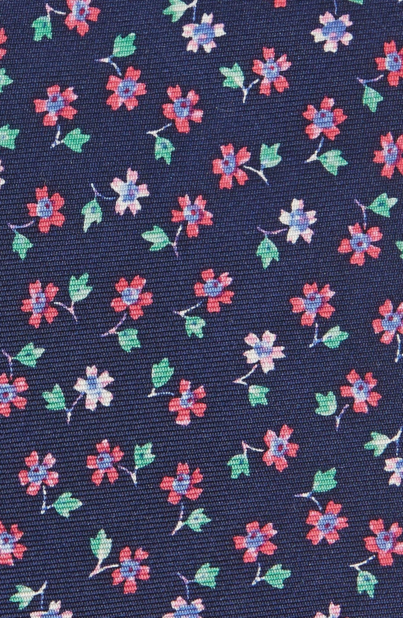 Merkley Floral Skinny Silk Tie,                             Alternate thumbnail 2, color,                             Navy