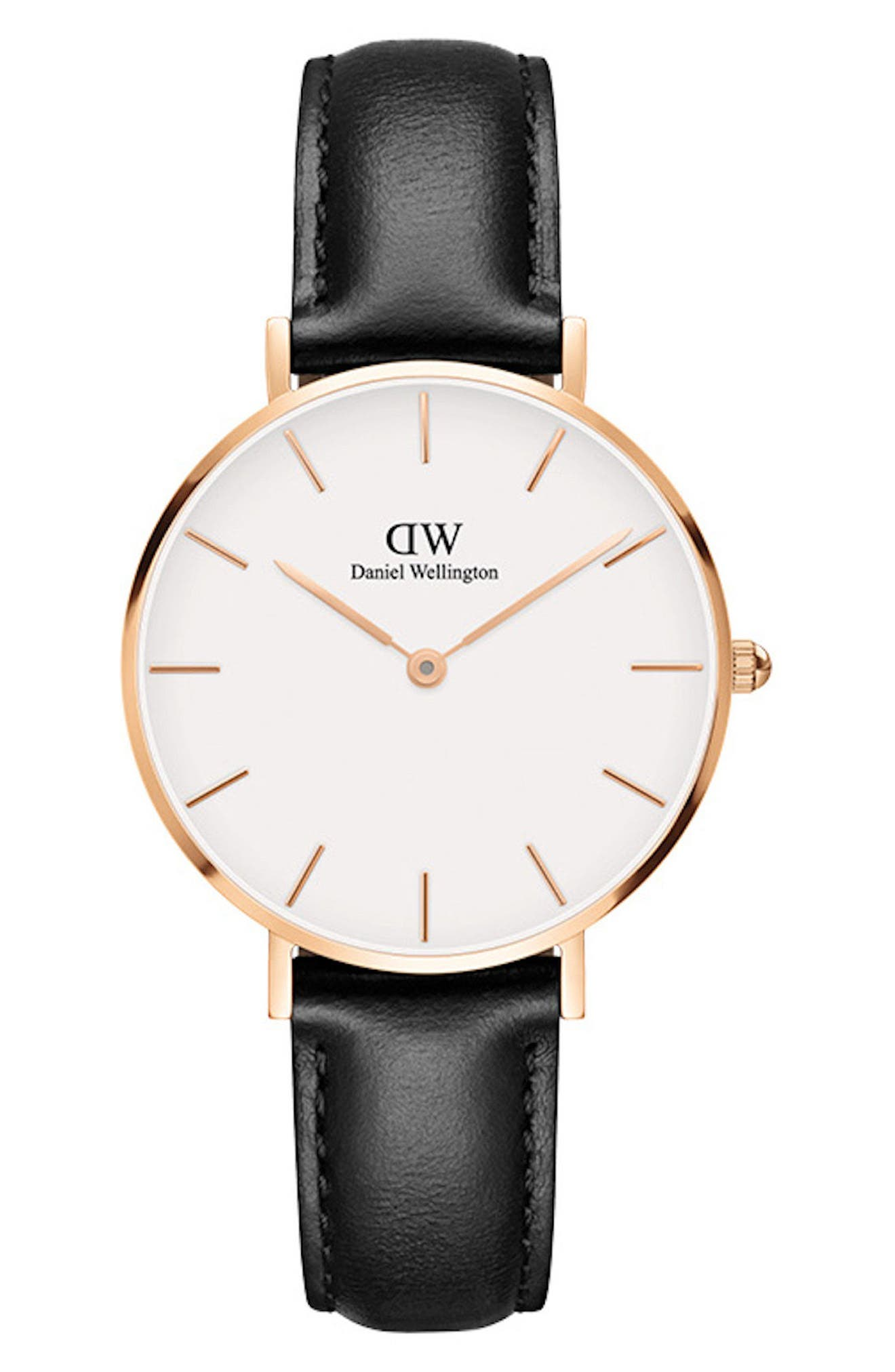 DANIEL WELLINGTON Classic Petite Leather Strap Watch, 32Mm in Black/ White/ Rose Gold