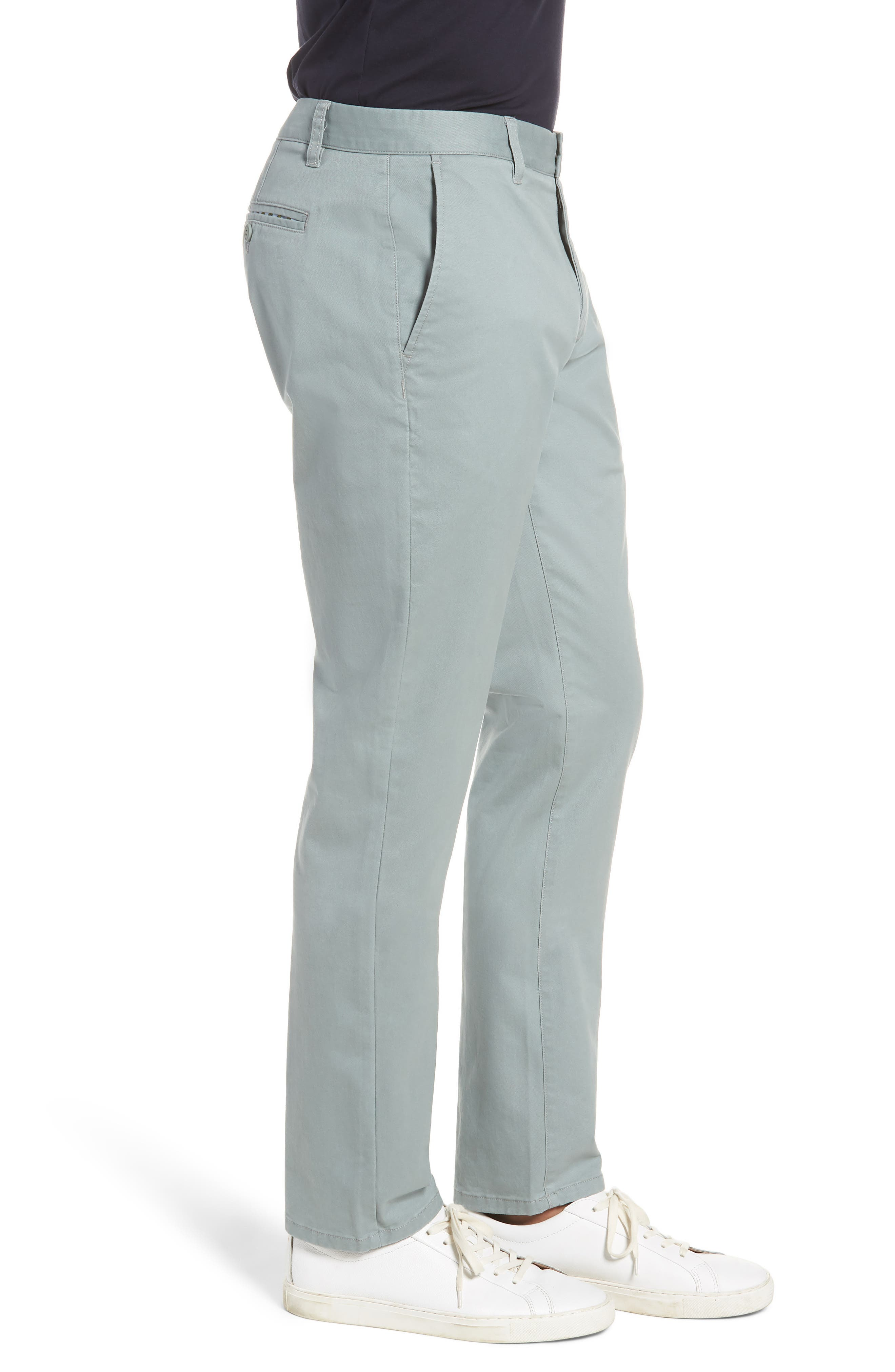 Tailored Fit Washed Stretch Cotton Chinos,                             Alternate thumbnail 3, color,                             Rye Grass