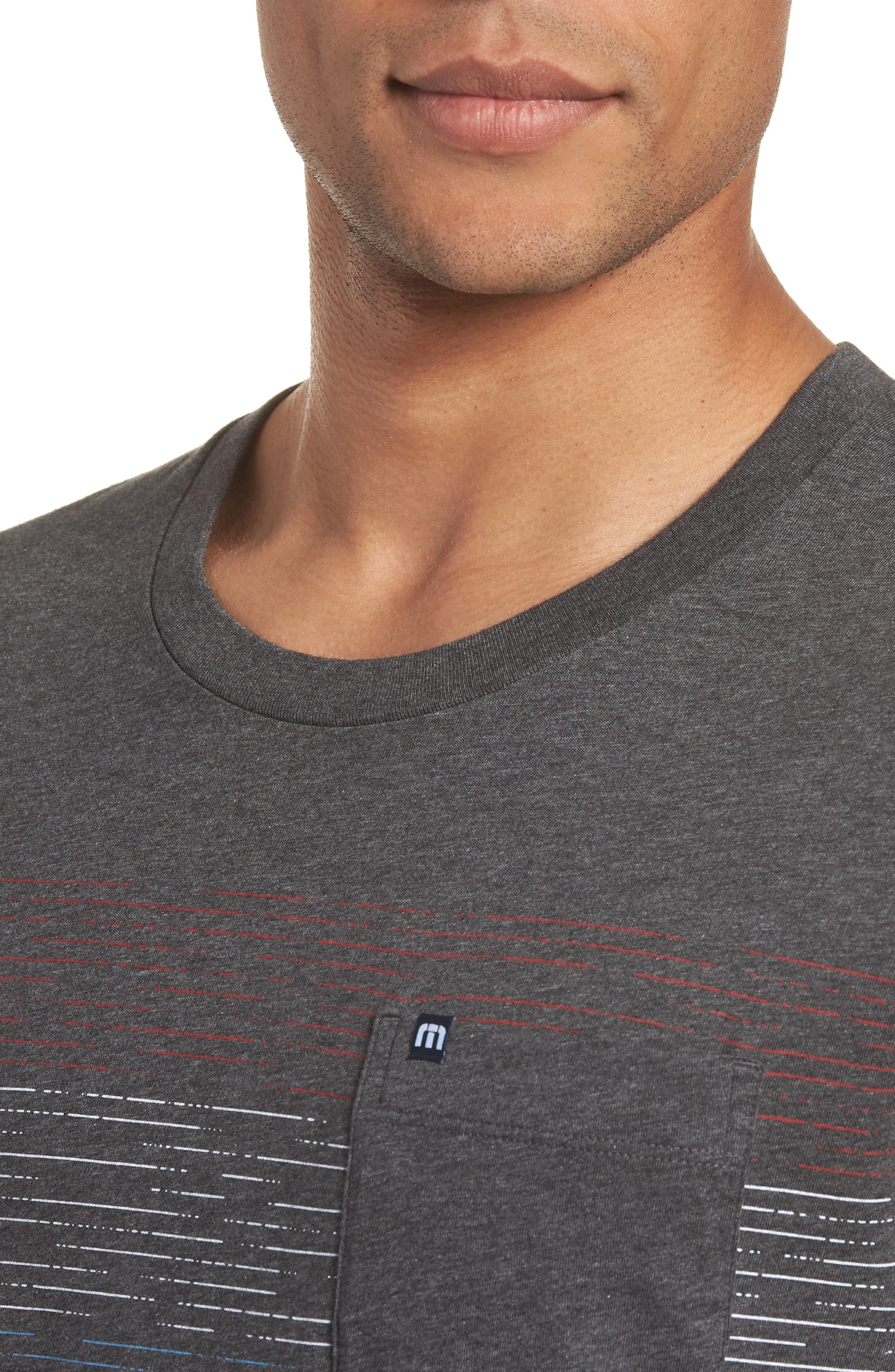 Flogging Print Pocket T-Shirt,                             Alternate thumbnail 4, color,                             Heather Grey Pinstripe