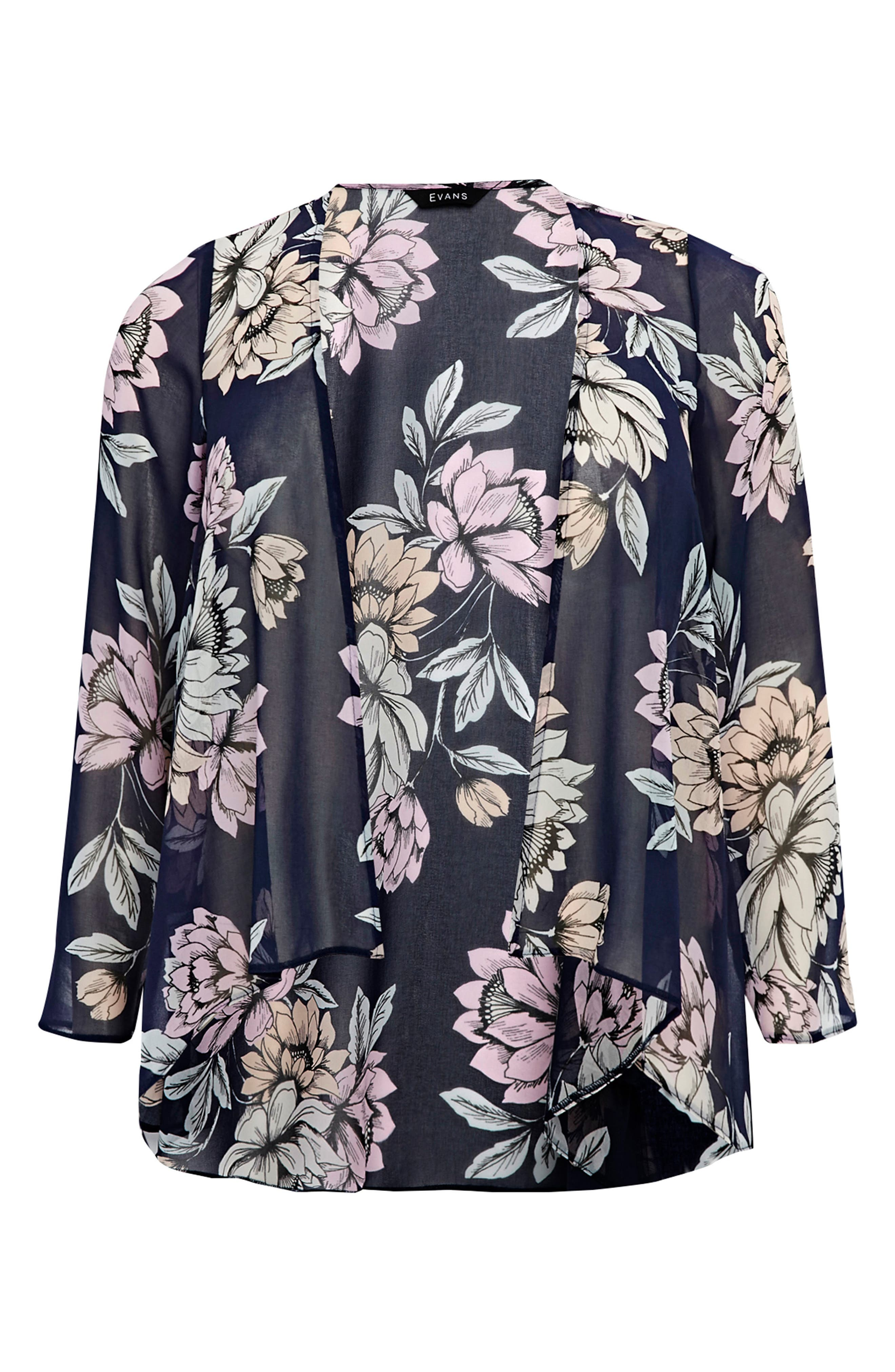 Floral Kimono Jacket,                             Alternate thumbnail 5, color,                             Navy