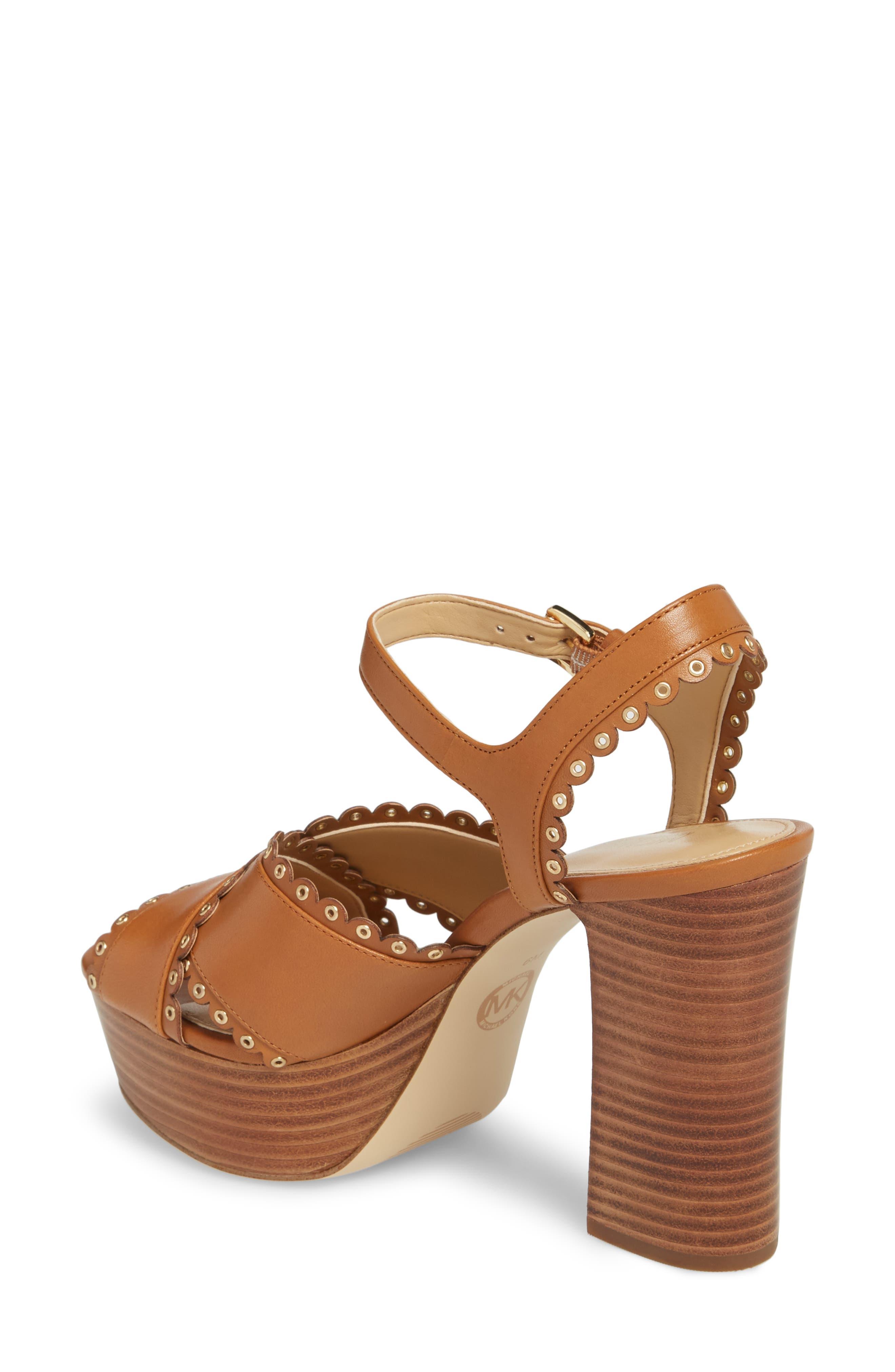 Jessie Platform Sandal,                             Alternate thumbnail 2, color,                             Acorn Leather