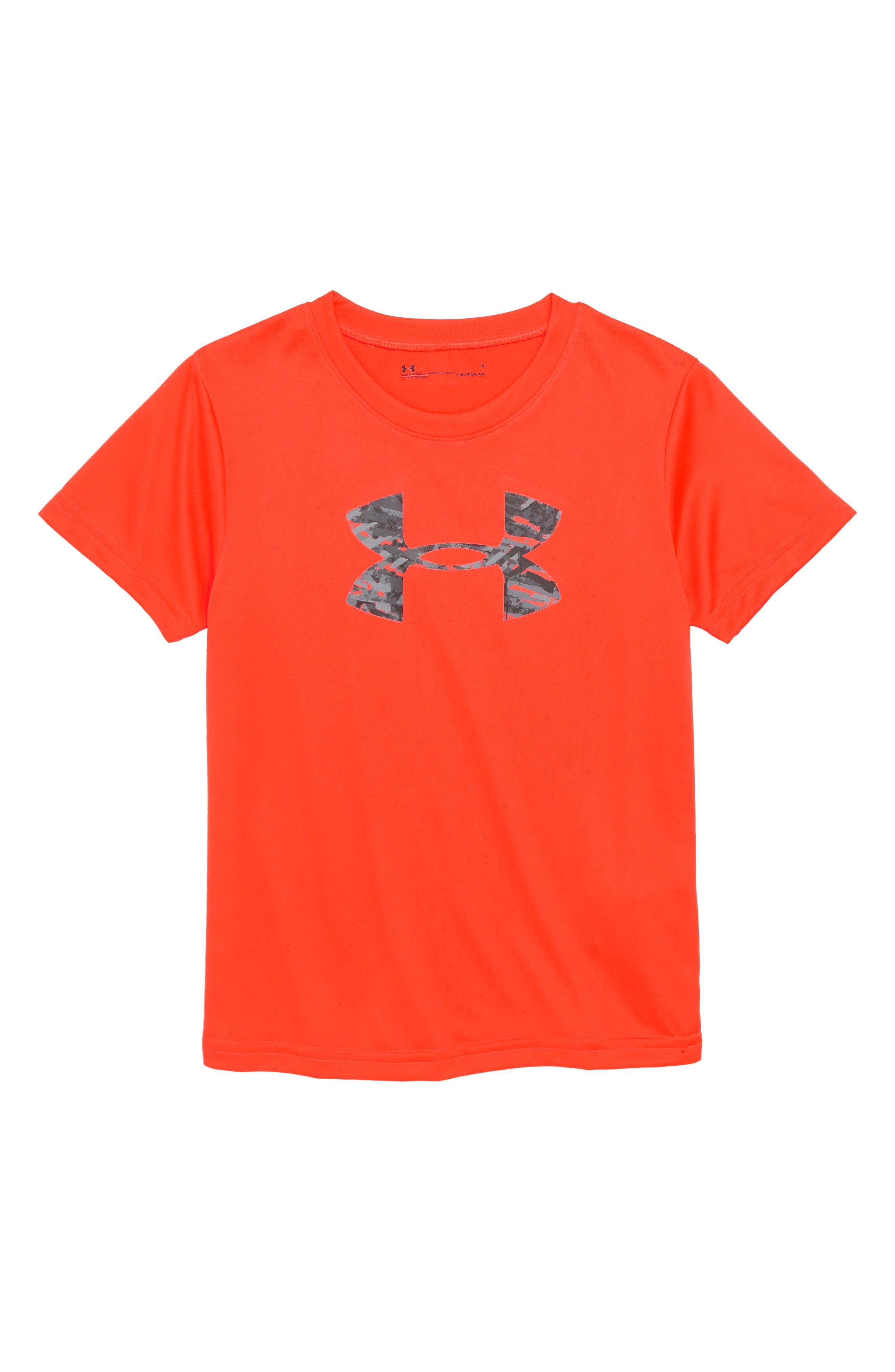 Vertigo Logo HeatGear<sup>®</sup> Shirt,                         Main,                         color, Neon Coral