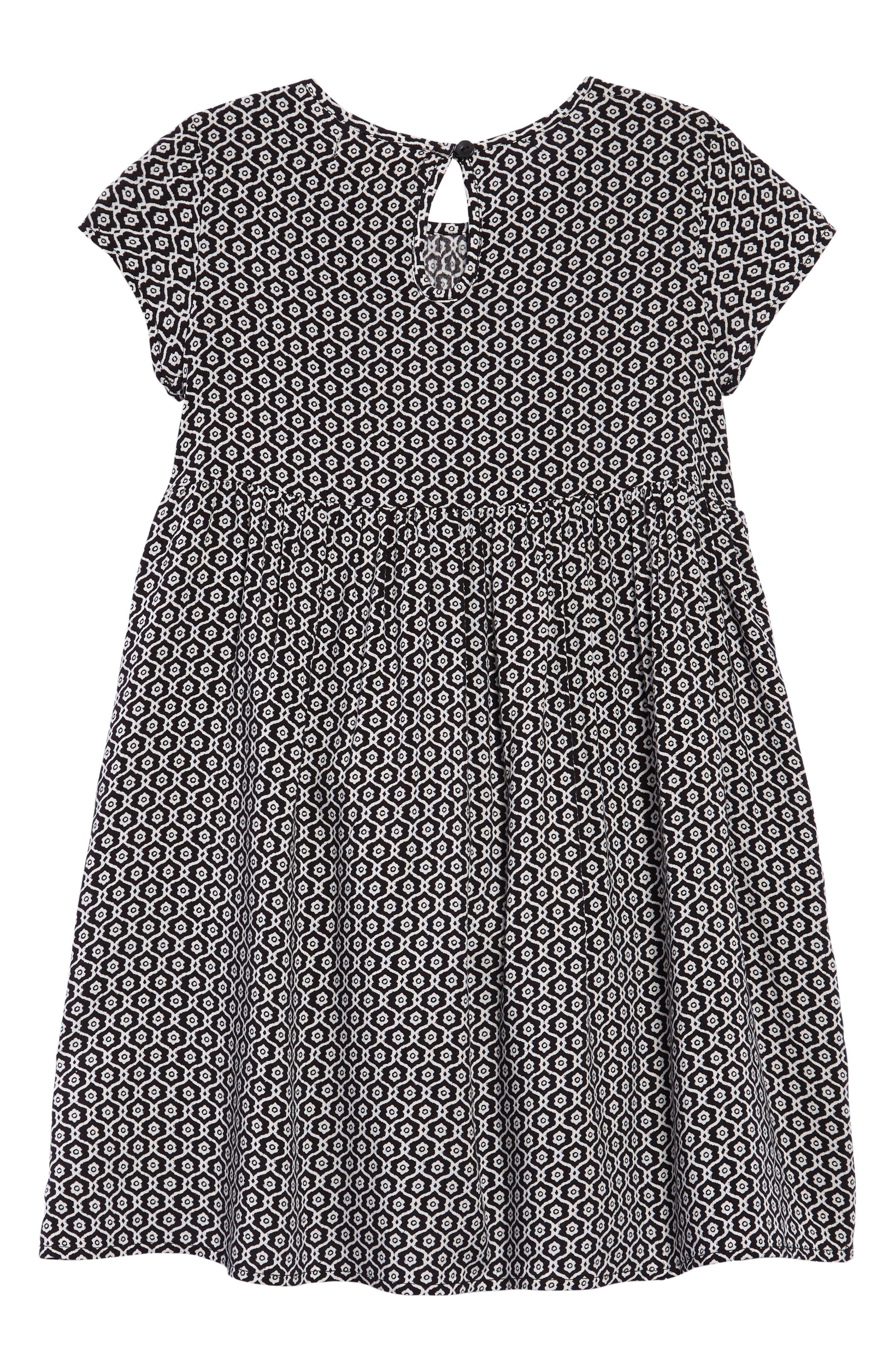 Print Dress,                             Alternate thumbnail 2, color,                             Black- Ivory Geo