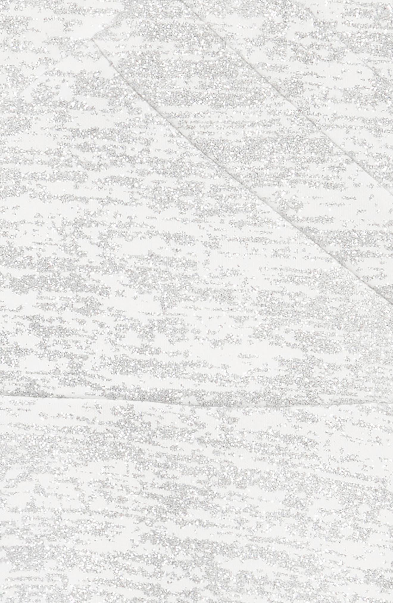 Glitter Scuba Skater Dress,                             Alternate thumbnail 3, color,                             Ivory/ Silver