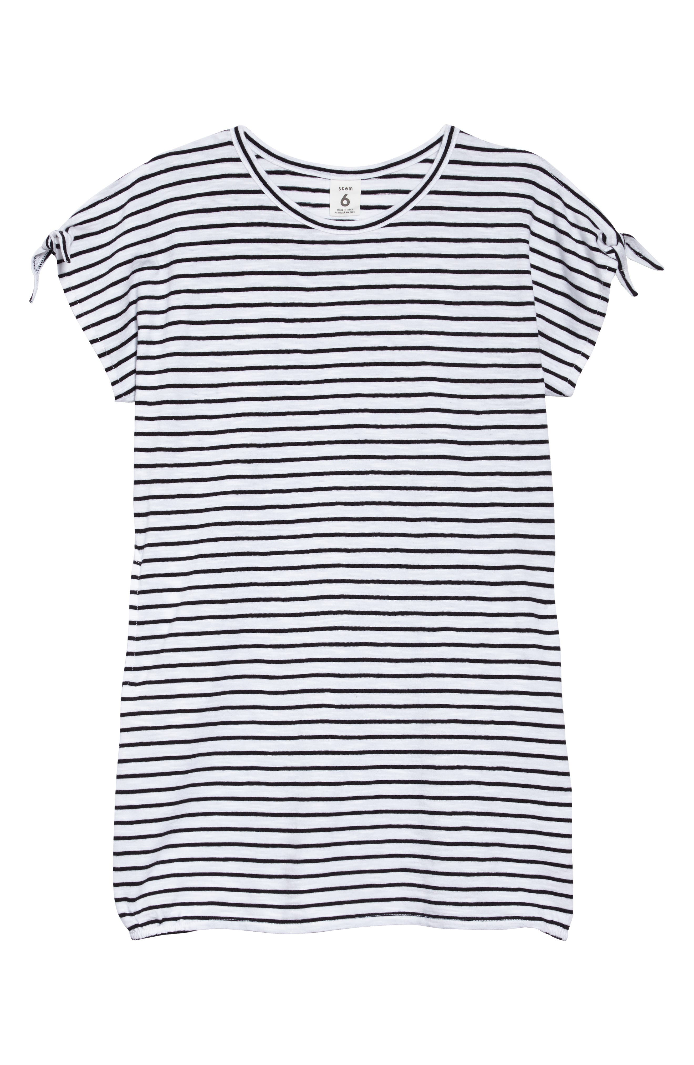 Stripe Tie Sleeve Dress,                         Main,                         color, White- Black Stripe