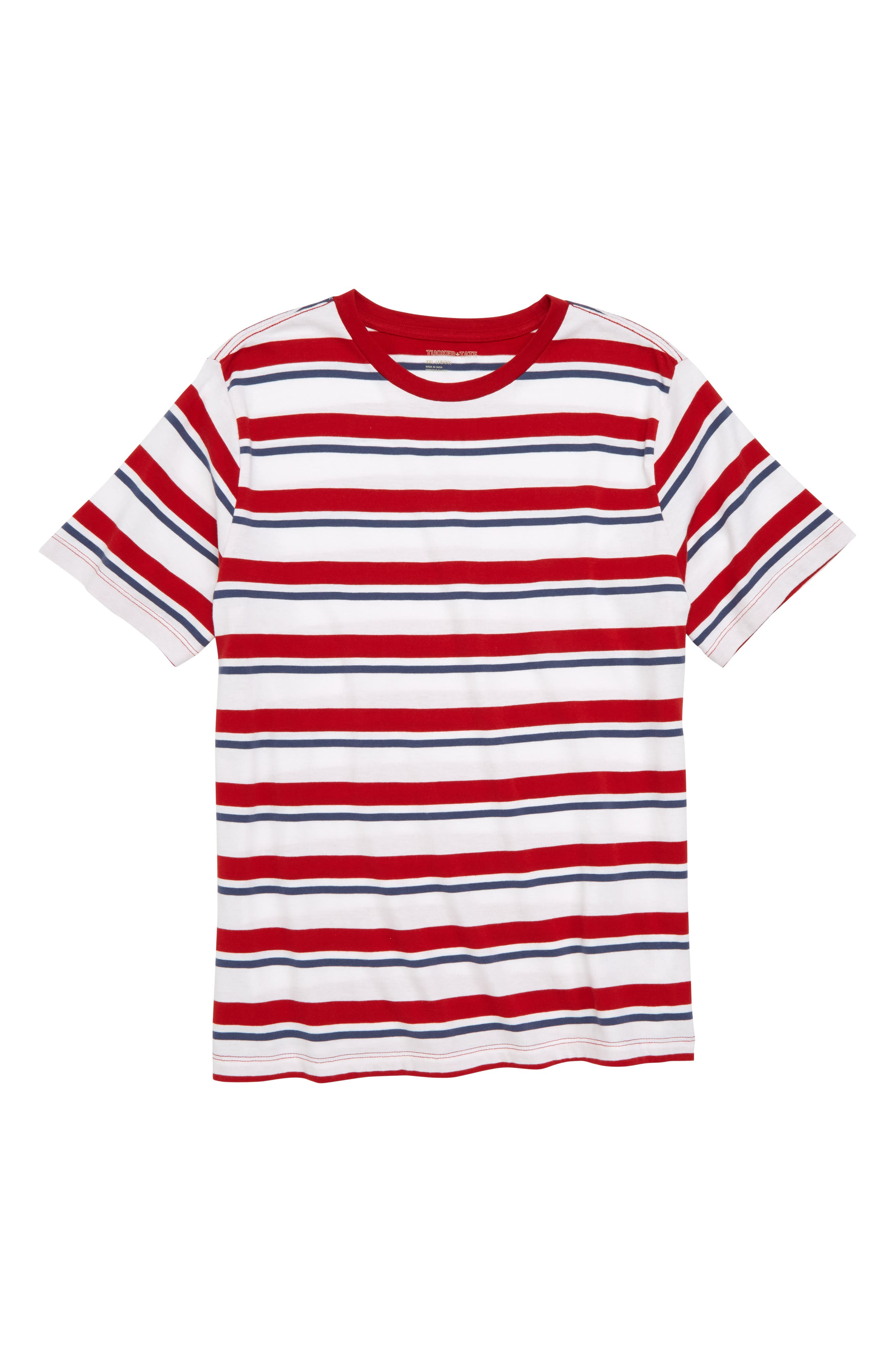 Repp Stripe T-Shirt,                             Main thumbnail 1, color,                             Red Samba- White Stripe